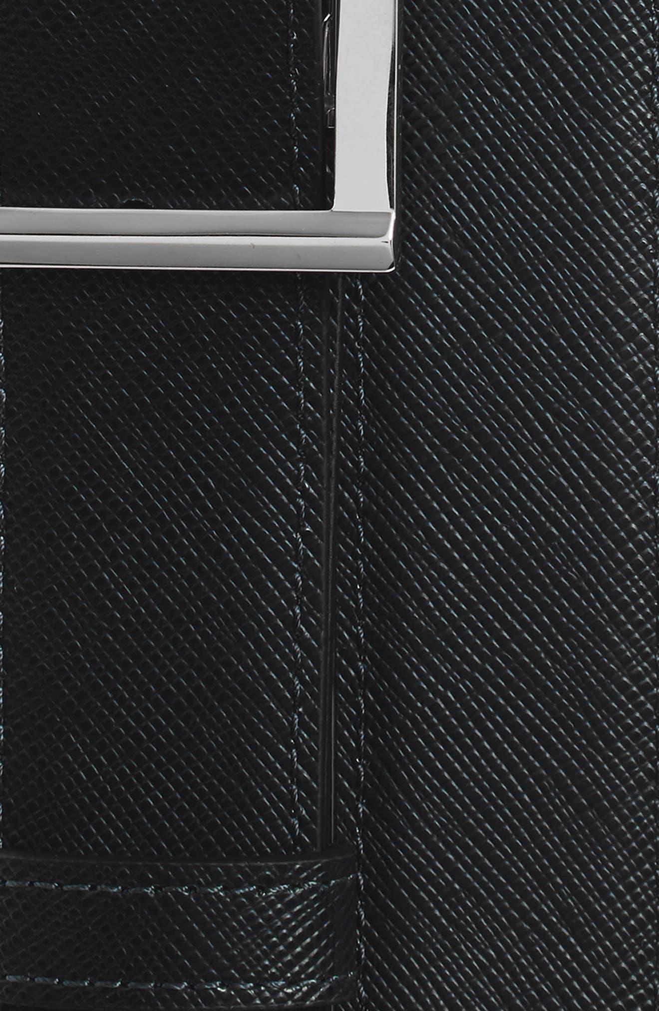 Reversible Leather Belt,                             Alternate thumbnail 3, color,                             Black/ Indigo