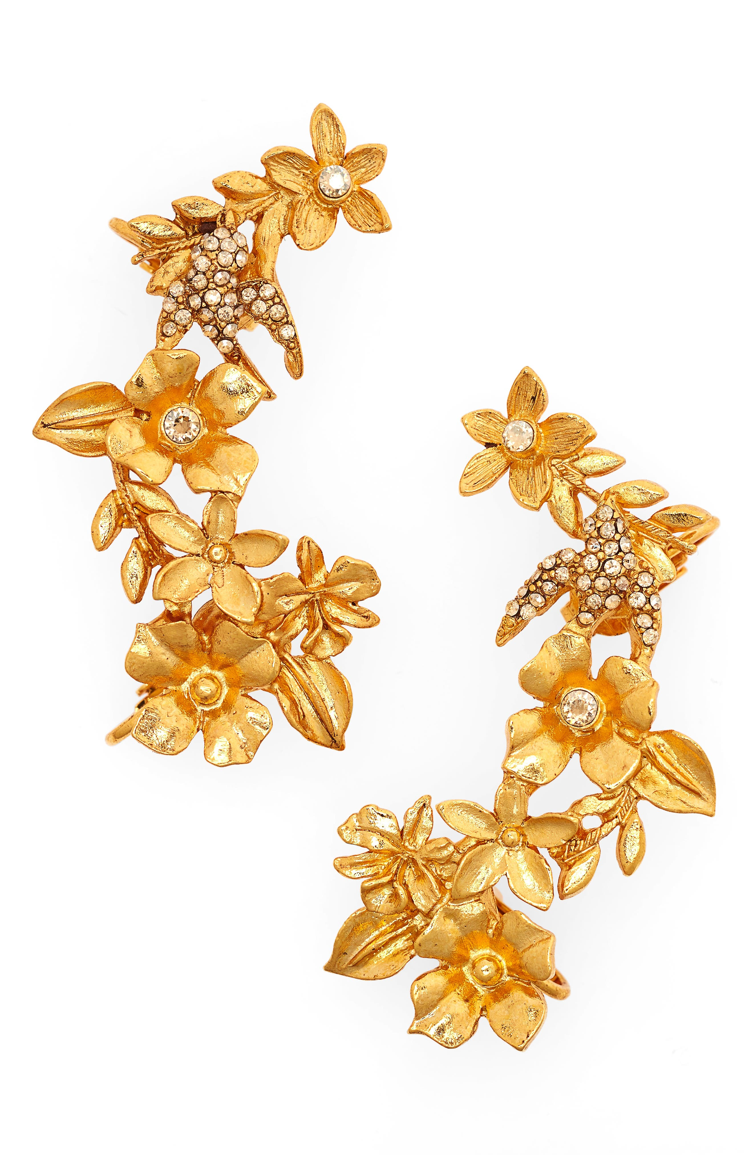 Oscar de la Renta Bouquet Cuff Clip-On Earrings