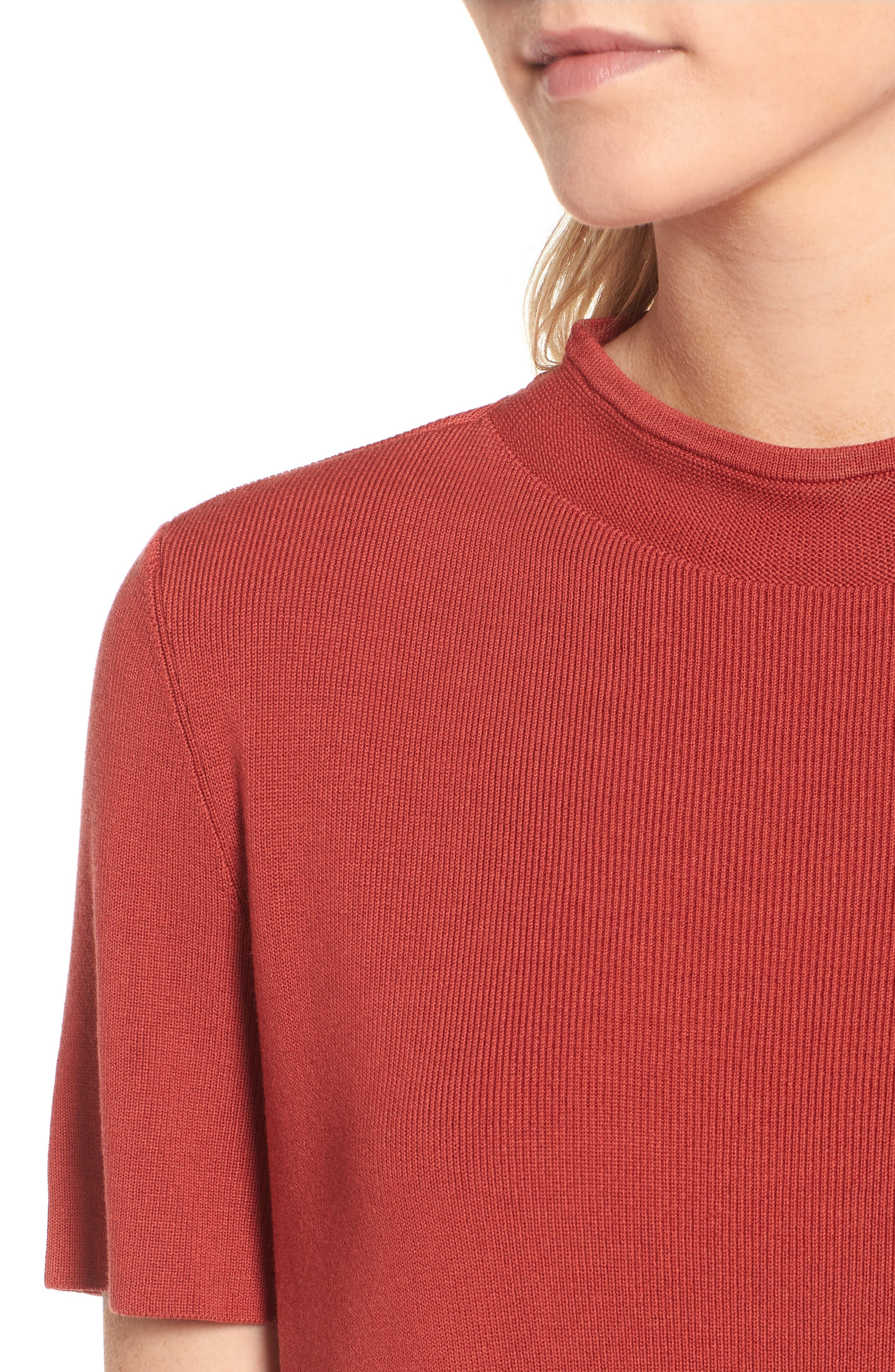 Tencel<sup>®</sup> Lyocell Knit Sweater,                             Alternate thumbnail 4, color,                             Coral Rose