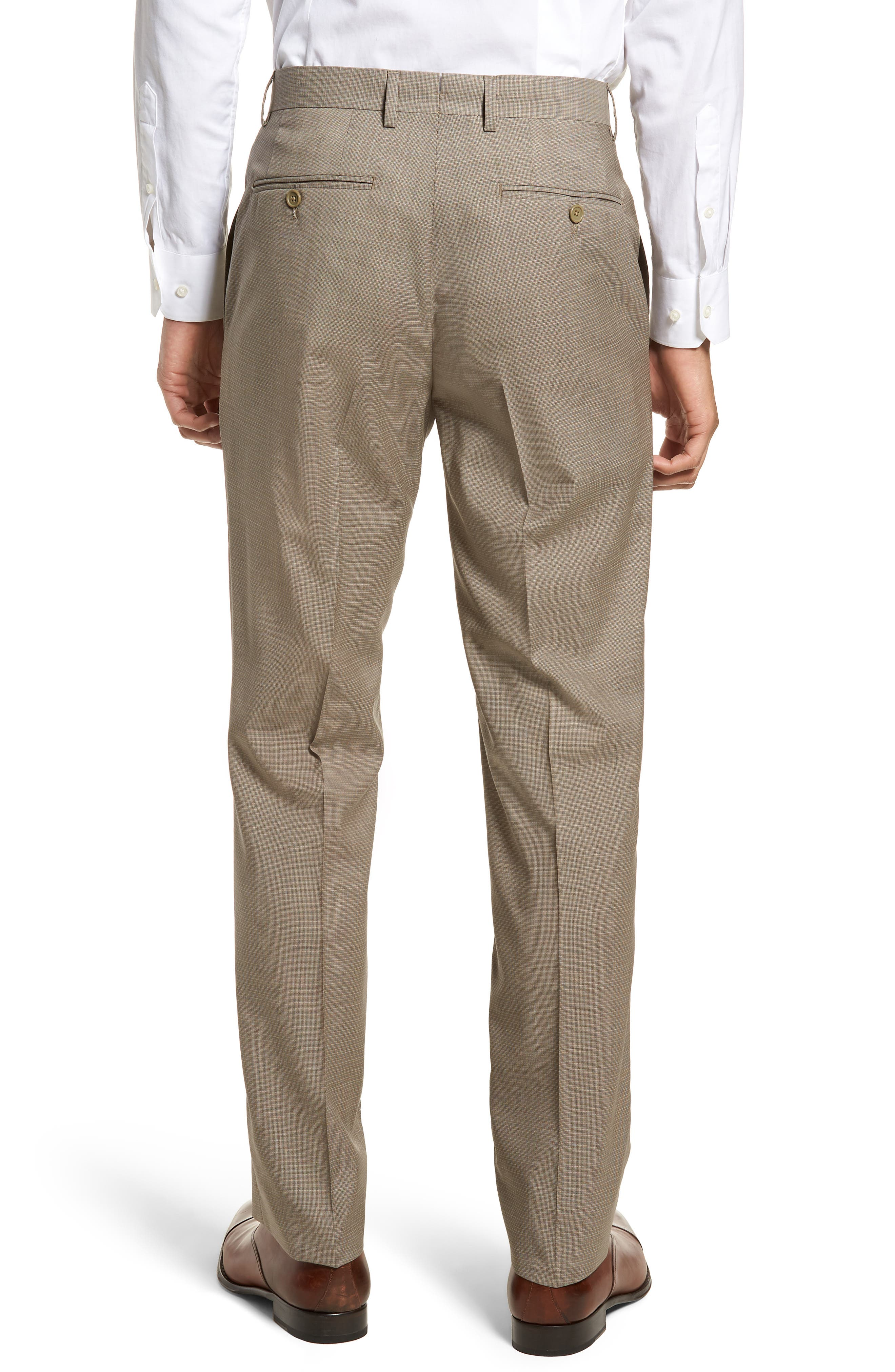 Flat Front Check Wool Trousers,                             Alternate thumbnail 2, color,                             Dark Tan