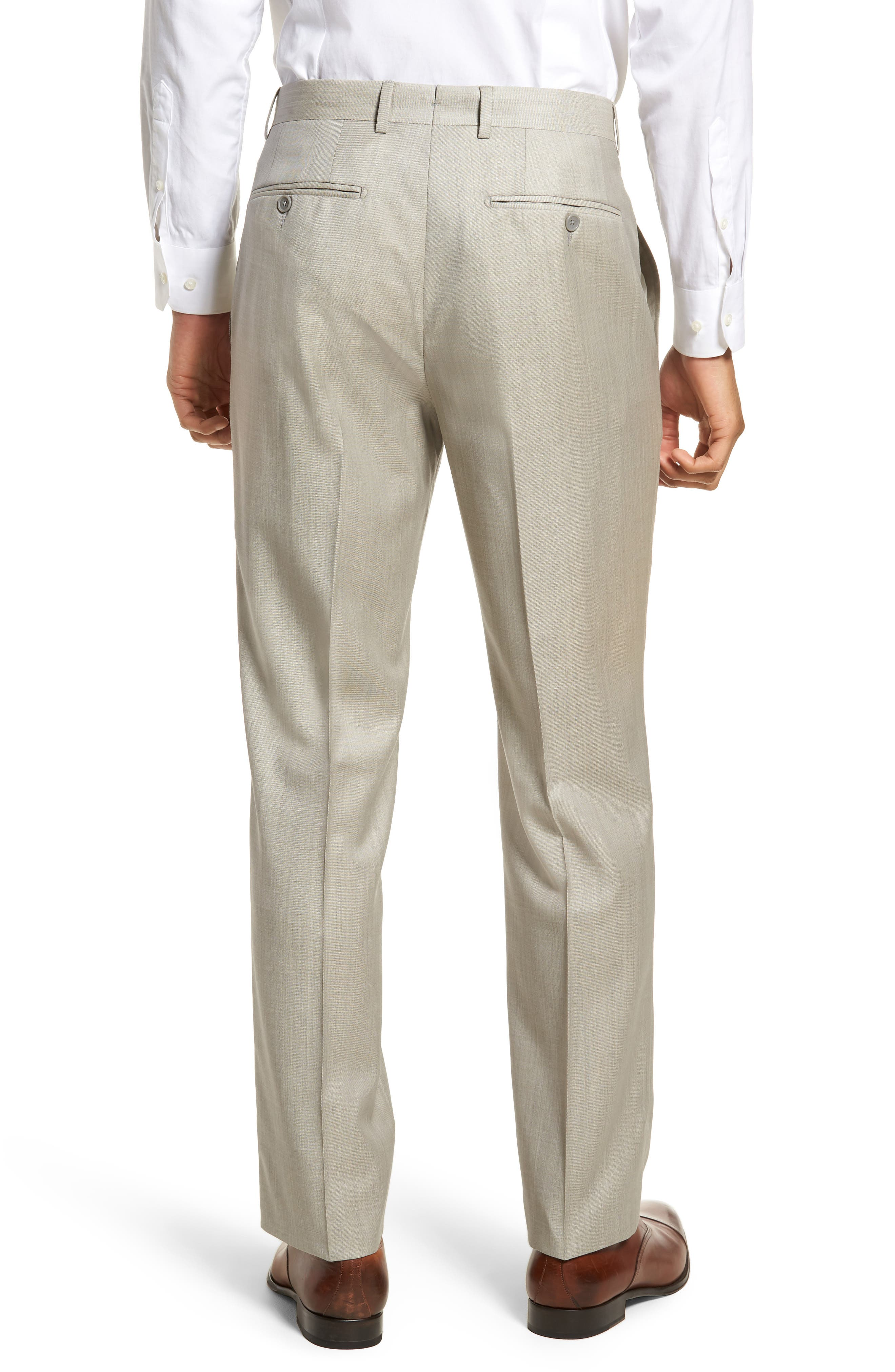 Flat Front Solid Wool Trousers,                             Alternate thumbnail 2, color,                             Sand