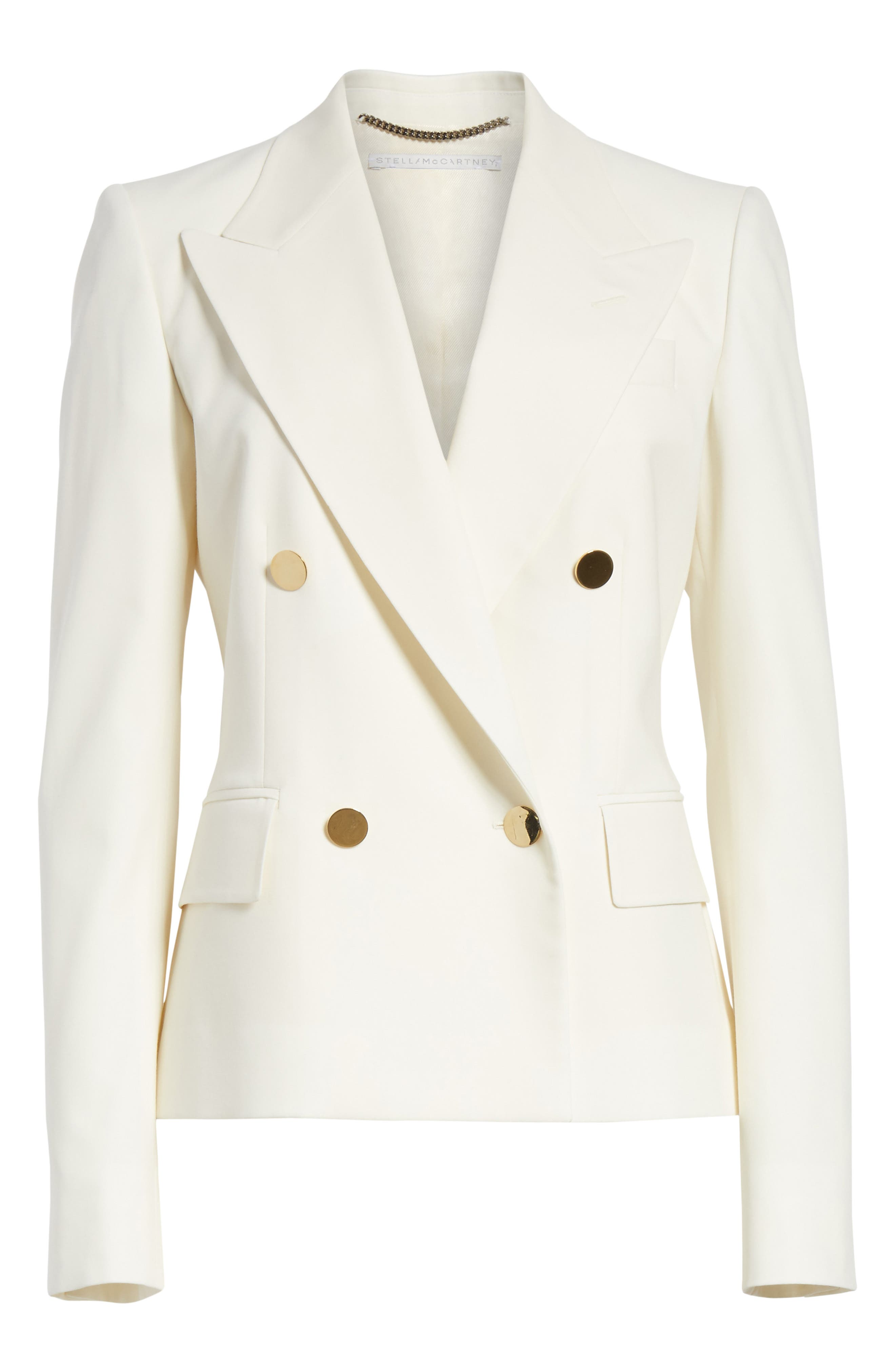 Summer Twill Double Breasted Blazer,                             Alternate thumbnail 7, color,                             Cream