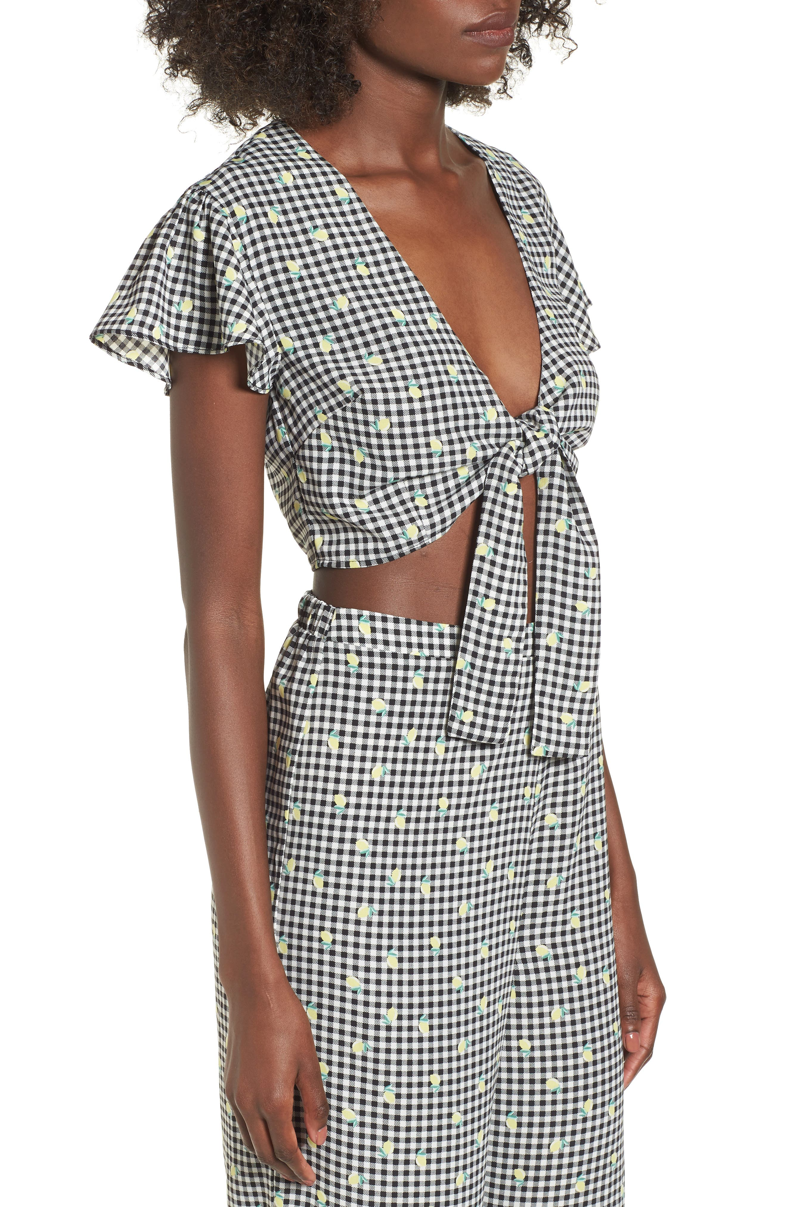 Gingham Tie Front Crop Top,                             Alternate thumbnail 4, color,                             Gingham Lemon Print
