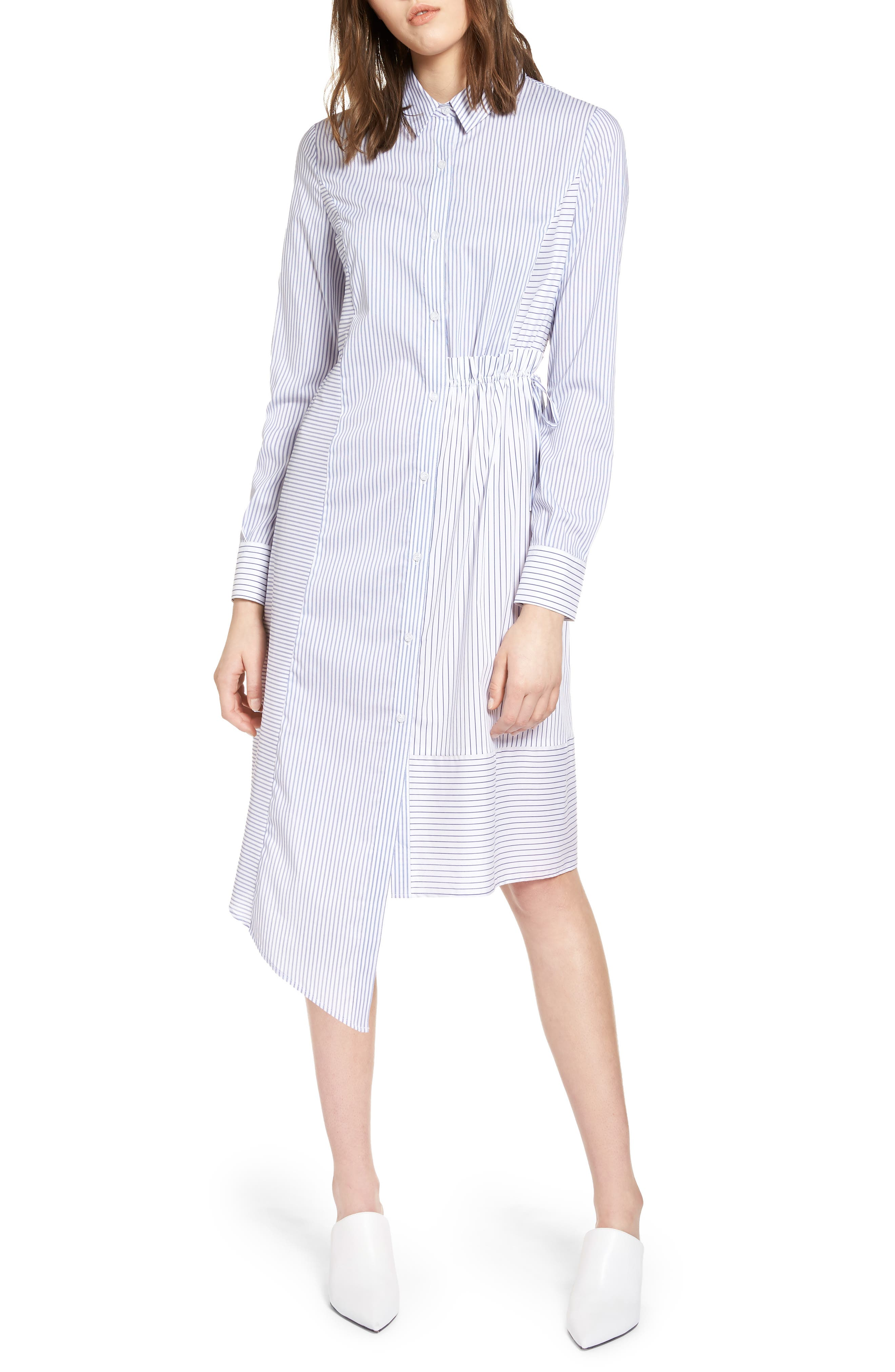 Poplin Shirtdress,                         Main,                         color, White- Blue Mix Stripe