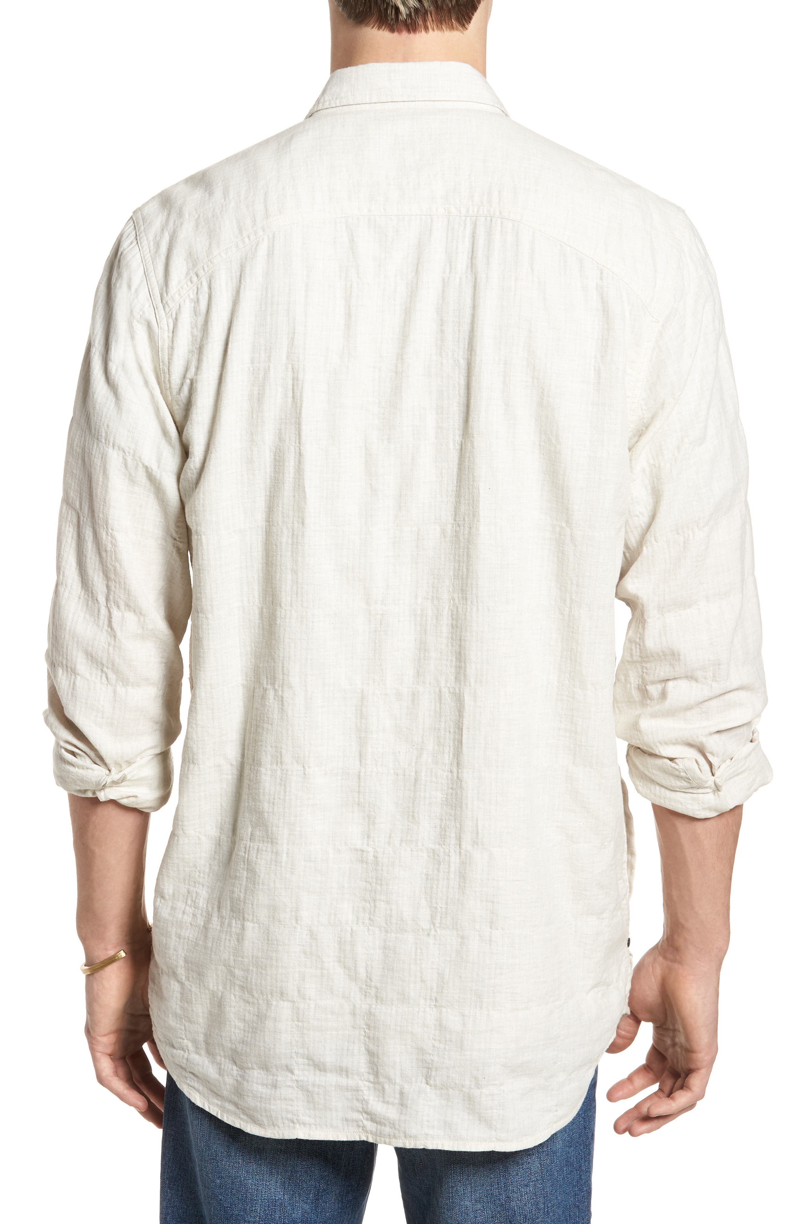Herringbone Longline Shirt,                             Alternate thumbnail 3, color,                             Ivory Egret Herringbone