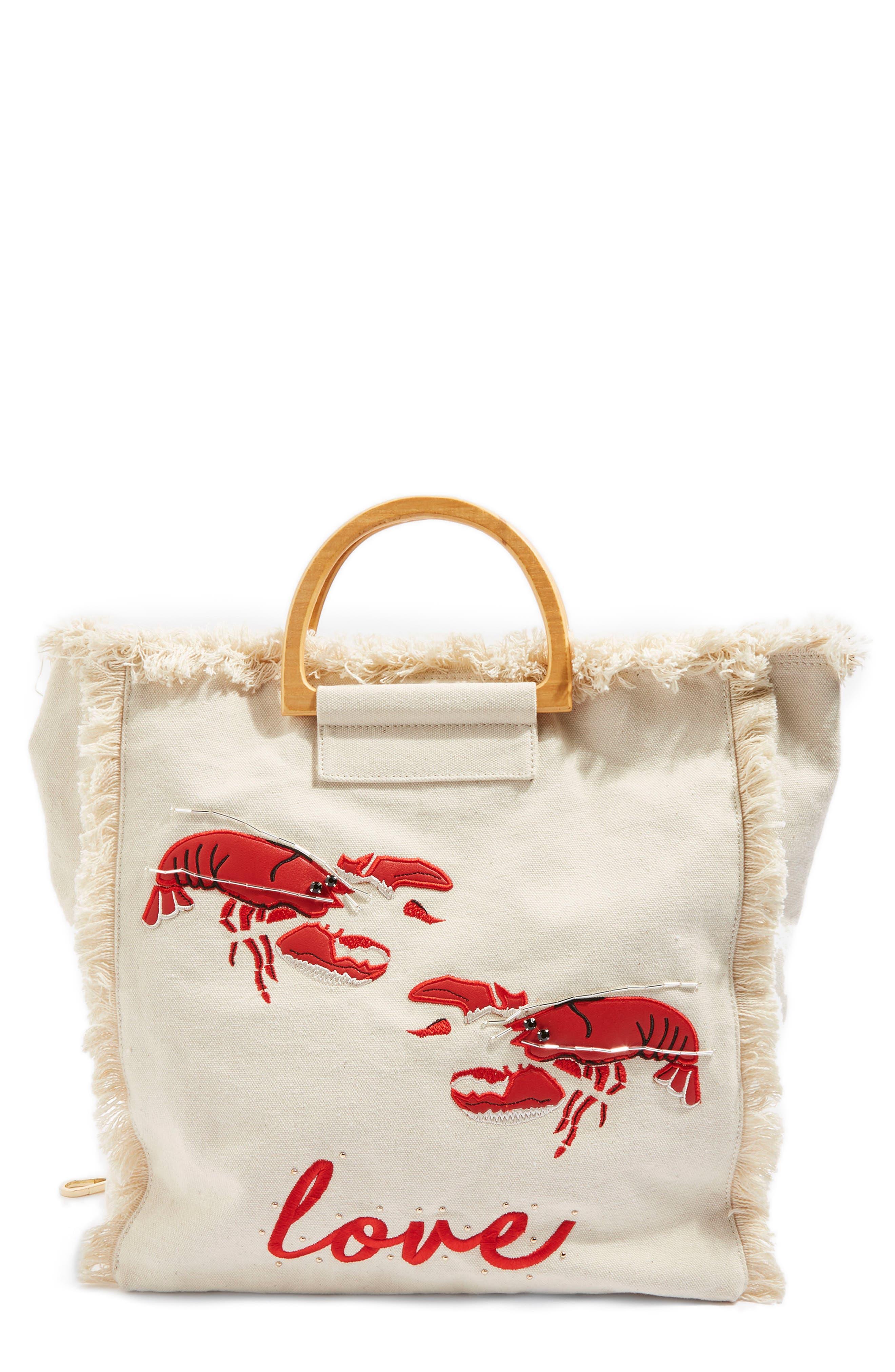 Bobby Lobster Love Canvas Shopper,                             Main thumbnail 1, color,                             Nude Multi