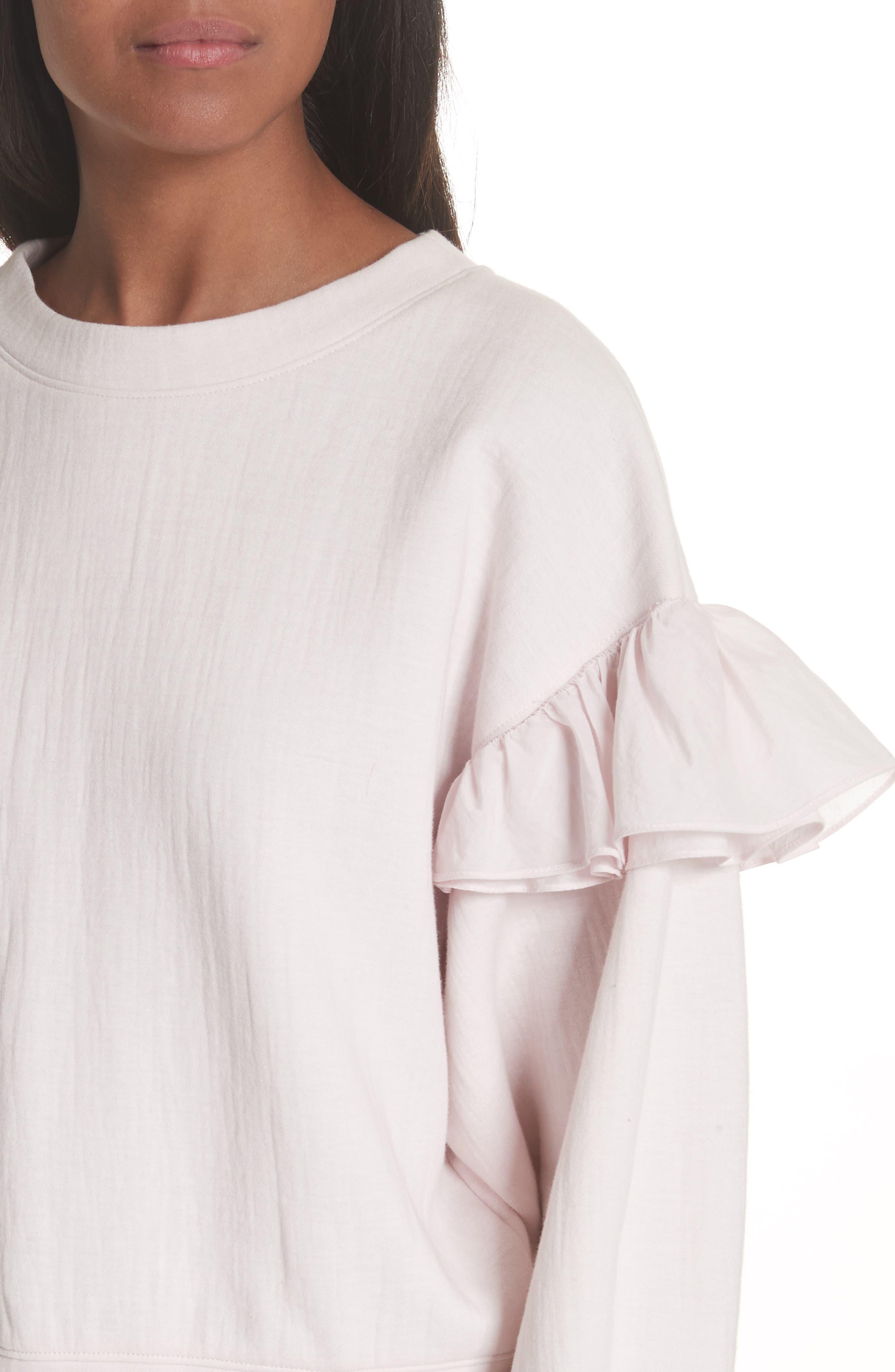 Ruffle Sleeve Sweatshirt,                             Alternate thumbnail 4, color,                             Candy Floss