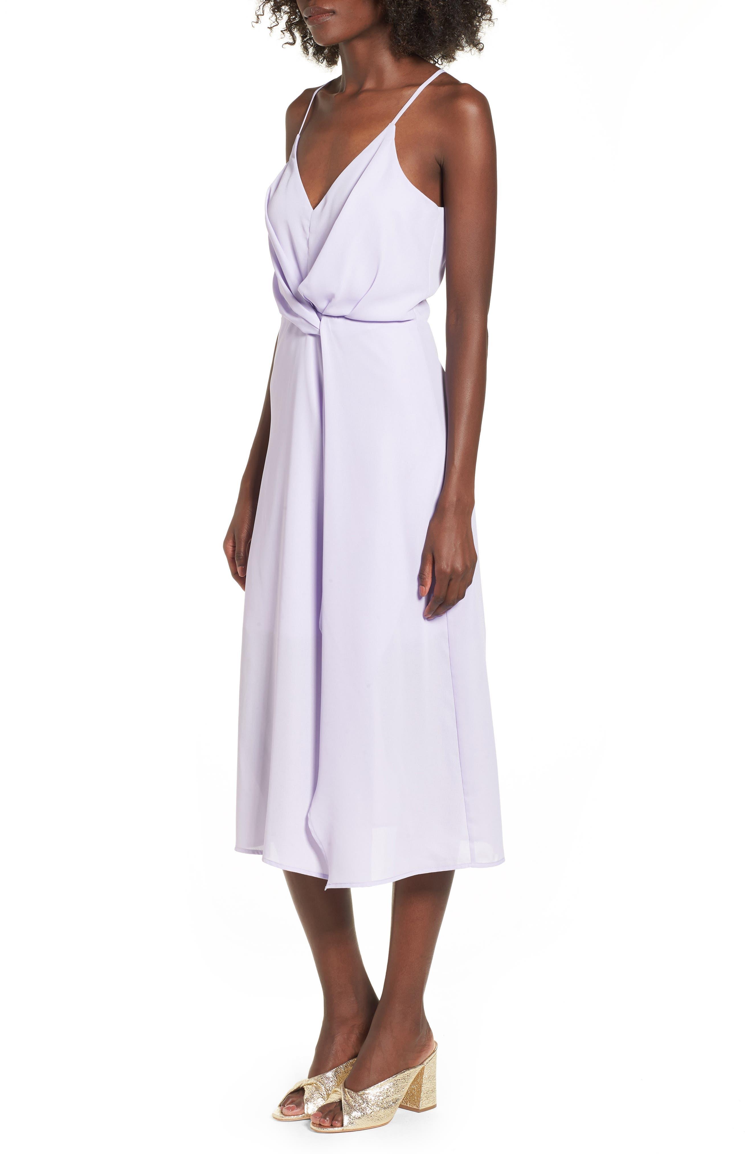 Knotted Waist Midi Dress,                             Alternate thumbnail 3, color,                             Lilac