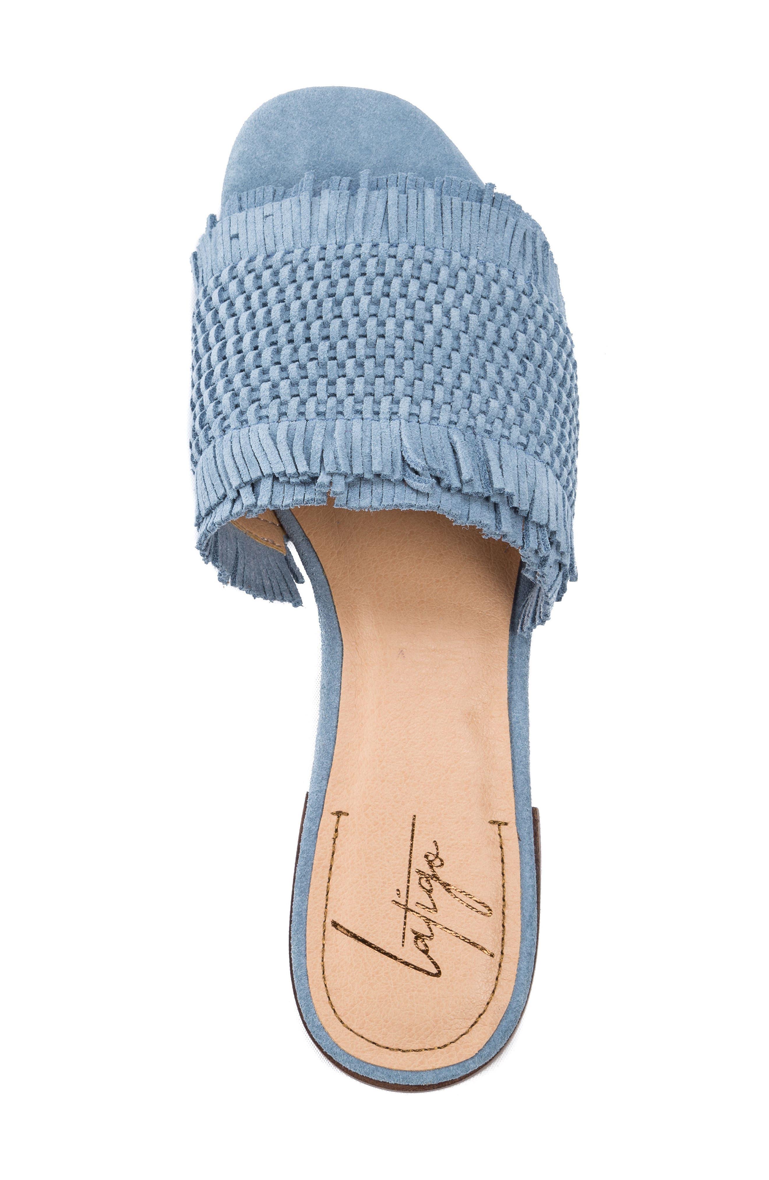 Sofie Fringed Slide Sandal,                             Alternate thumbnail 4, color,                             Light Blue