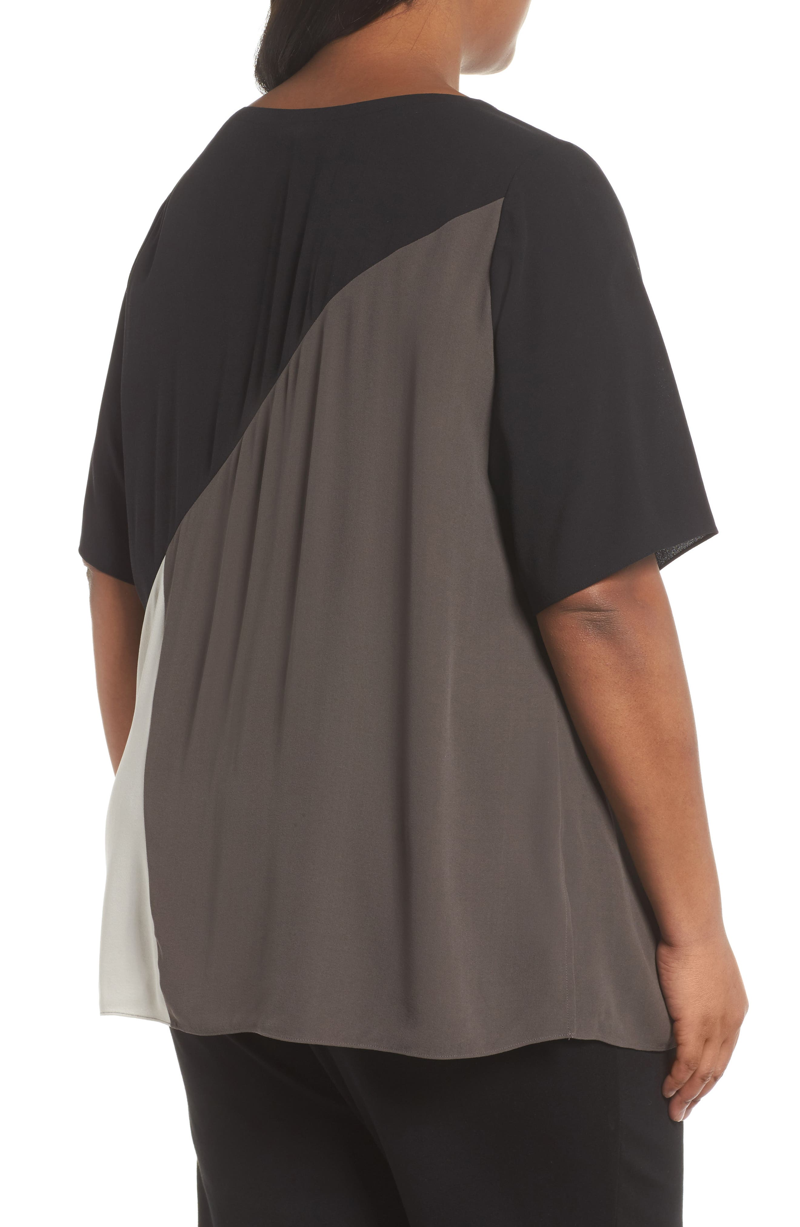Alternate Image 2  - Eileen Fisher Colorblock Silk Top (Plus Size)