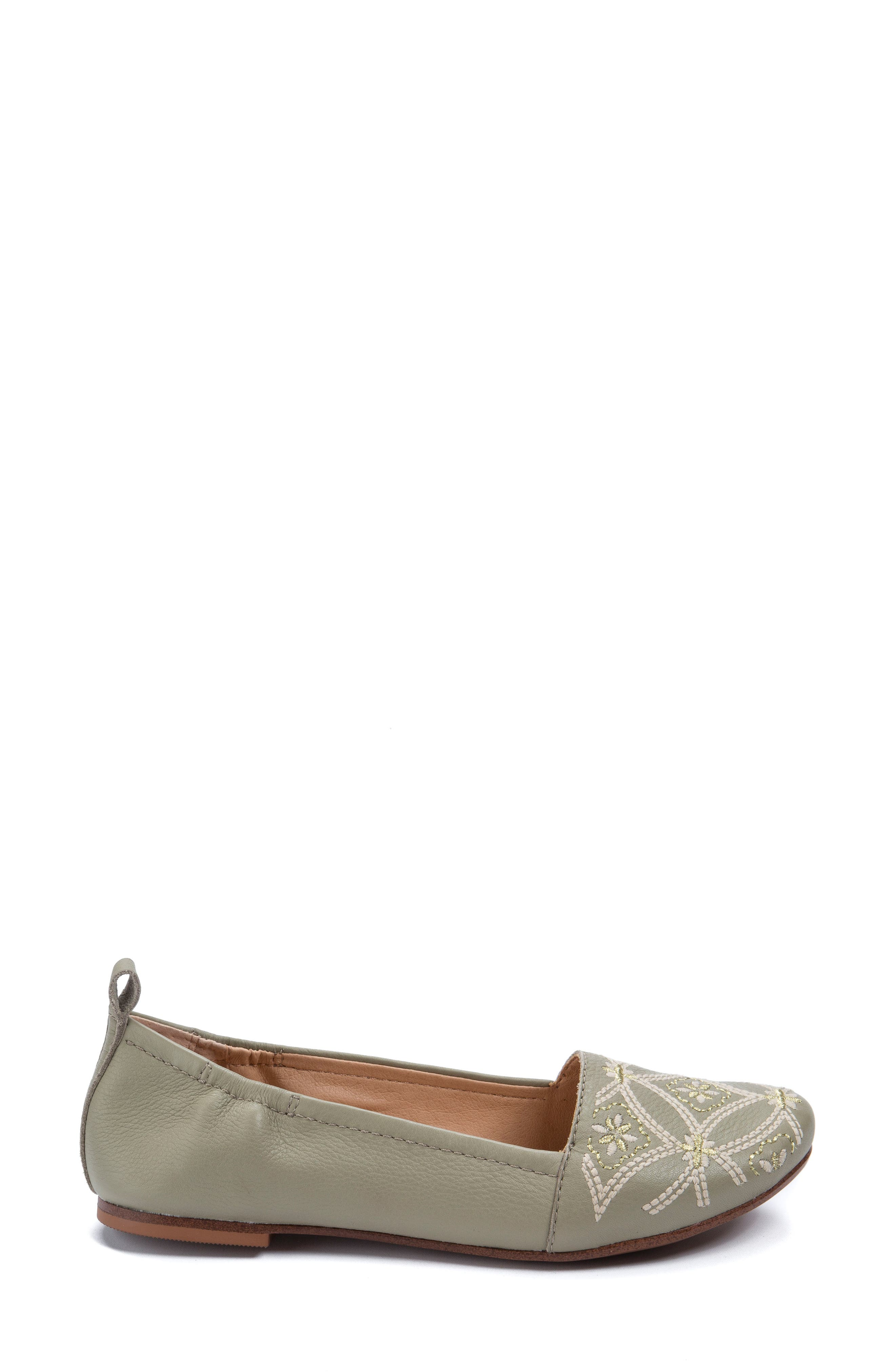 Globe Embroidered Flat,                             Alternate thumbnail 3, color,                             Sage Leather
