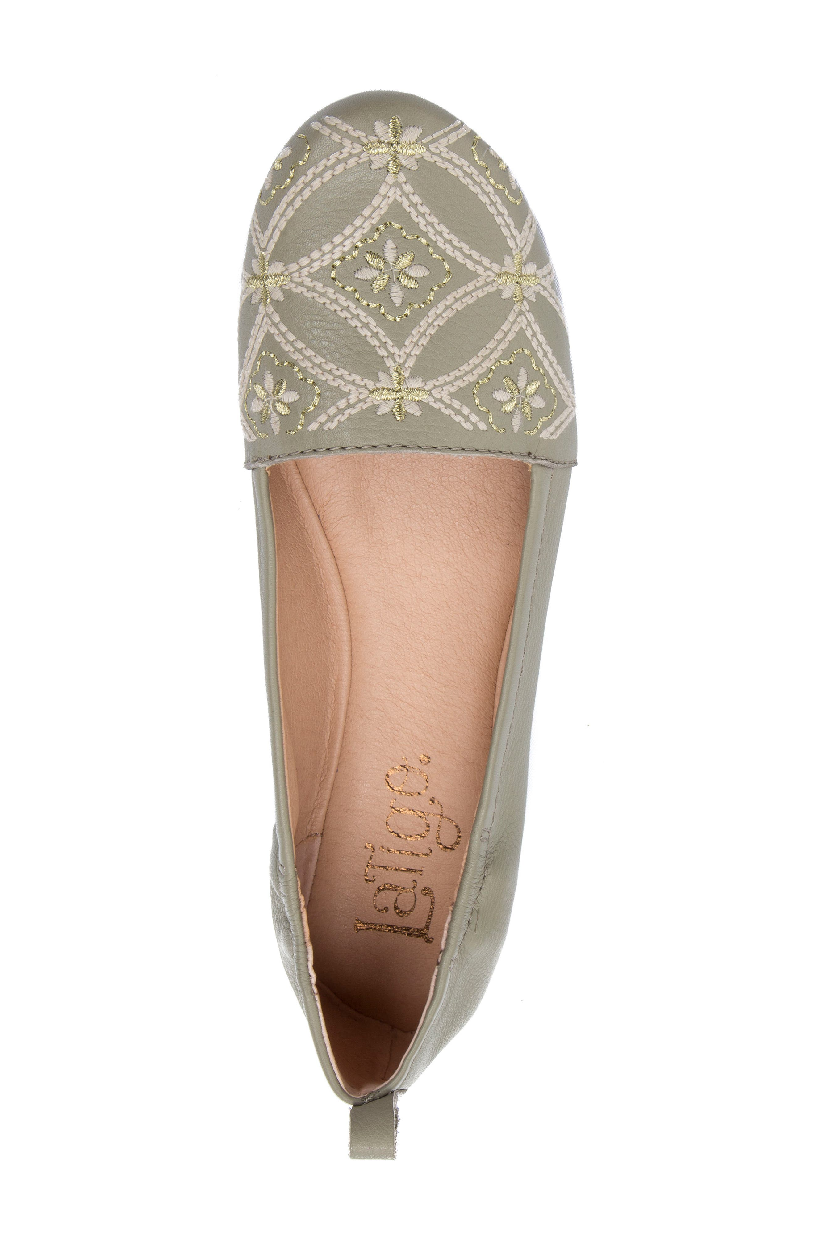 Globe Embroidered Flat,                             Alternate thumbnail 5, color,                             Sage Leather