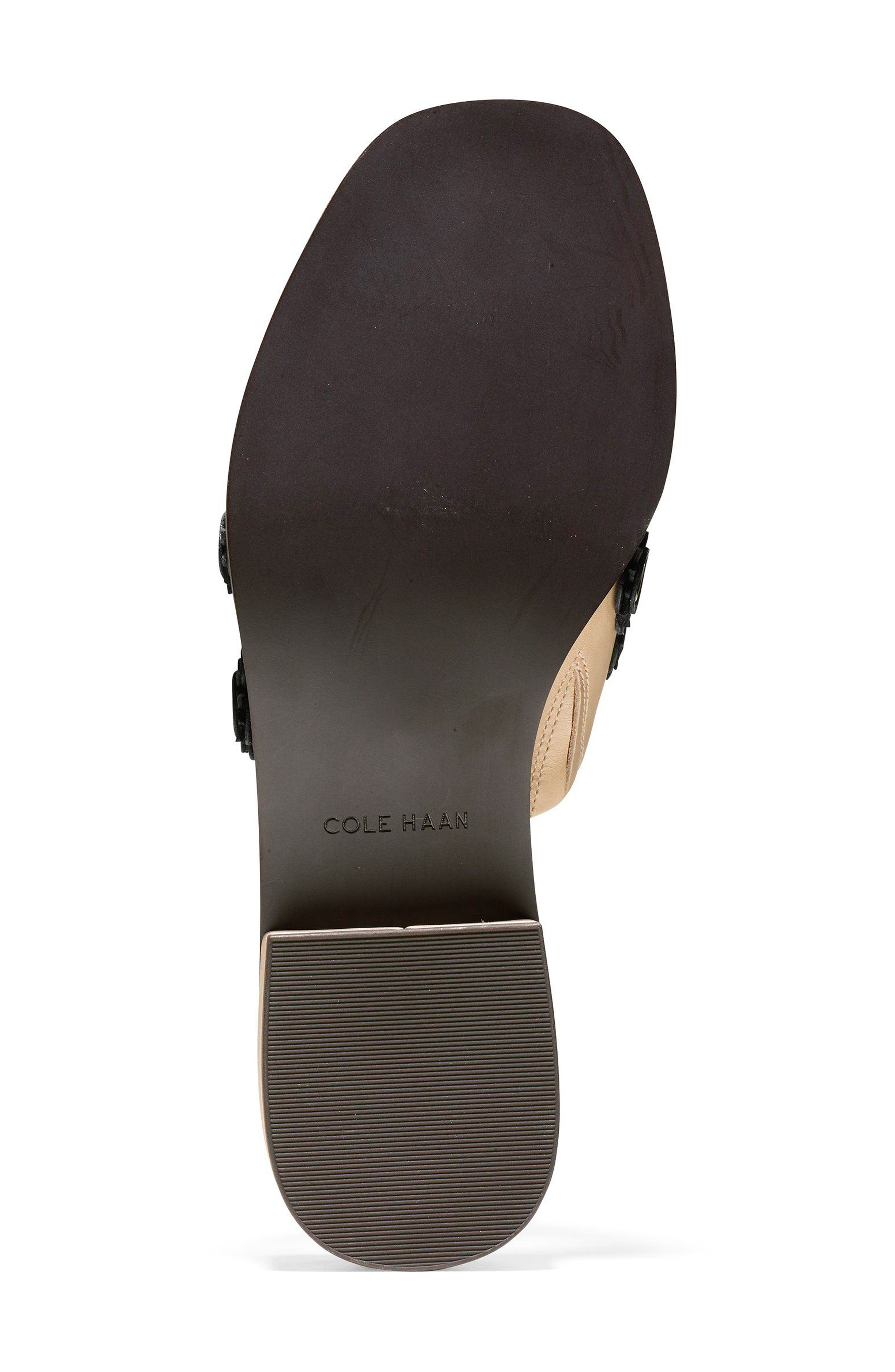 Carly Floral Sandal,                             Alternate thumbnail 6, color,                             Nude/ Black Leather