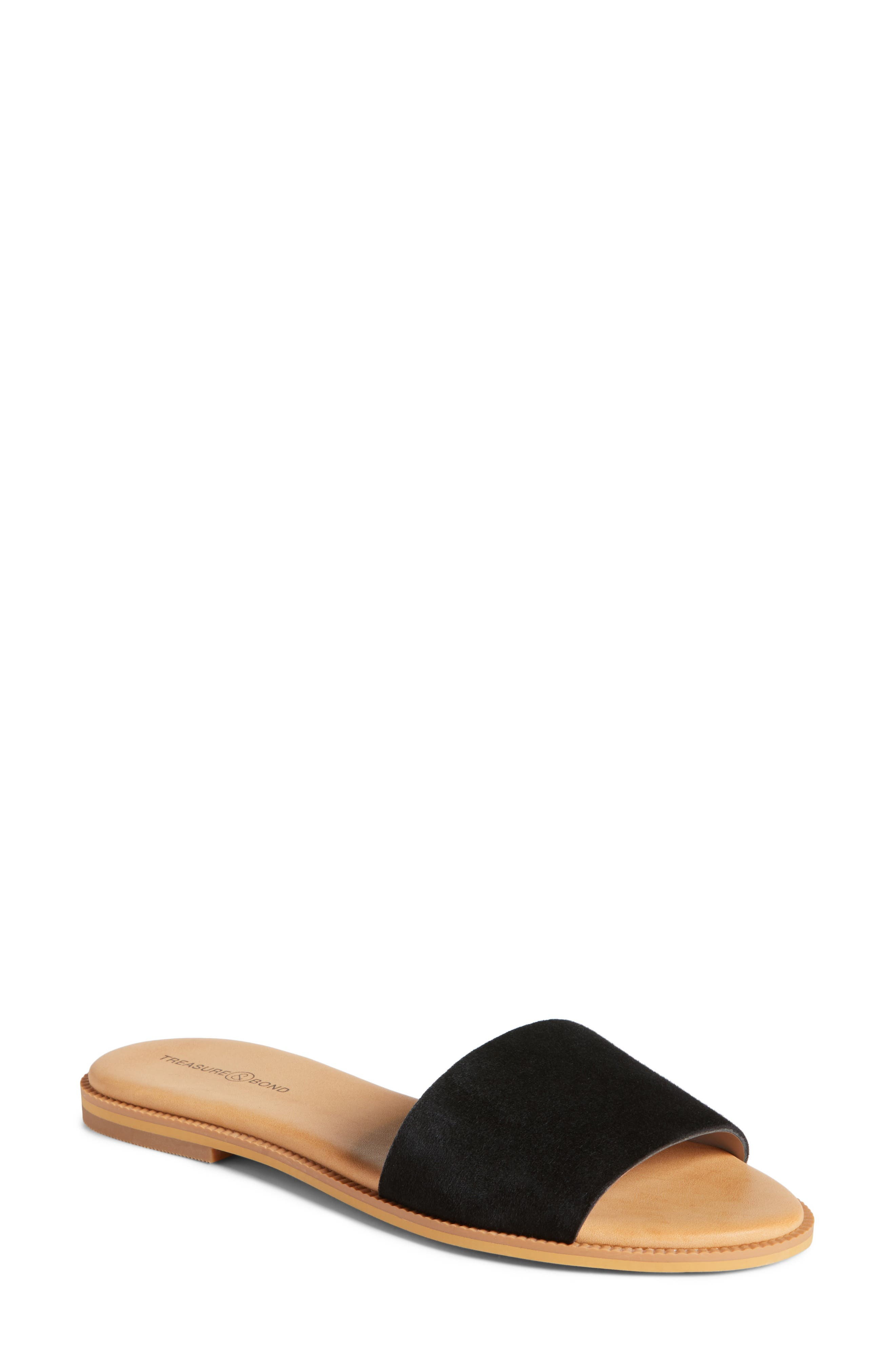 Mere Flat Slide Sandal,                             Main thumbnail 1, color,                             Black Suede