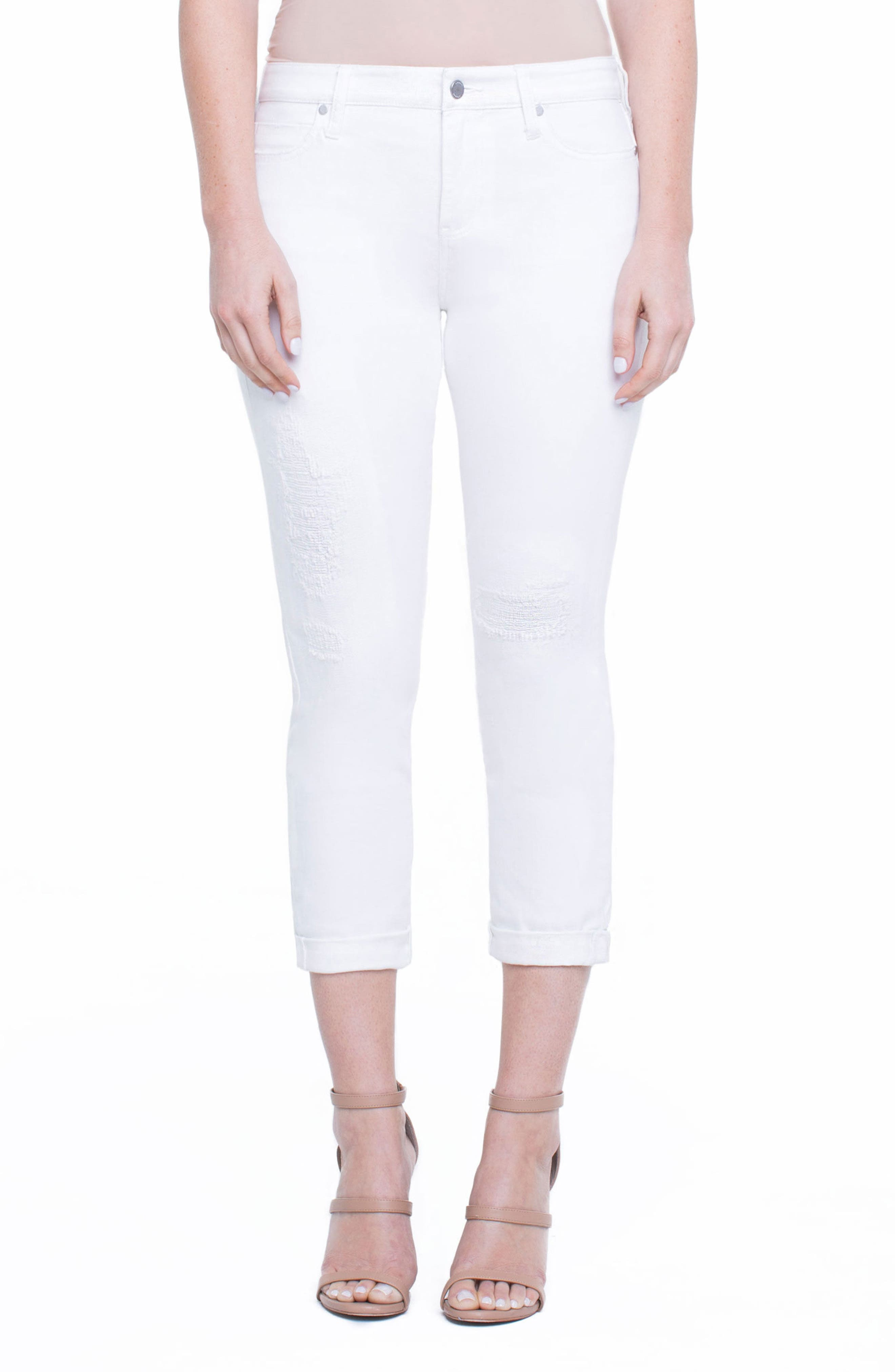Marley Girlfriend Jeans,                         Main,                         color, Luna White Mended