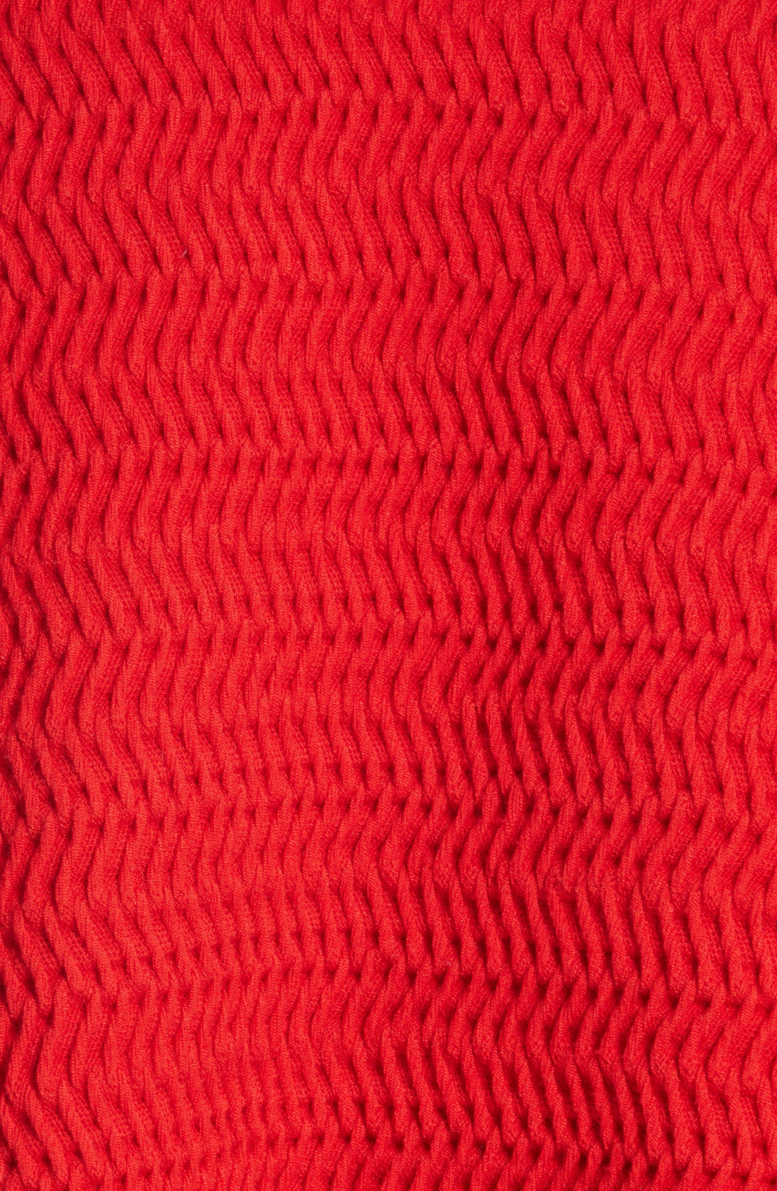 Faux Plait Silk Blend Crop Sweater,                             Alternate thumbnail 5, color,                             Poppy