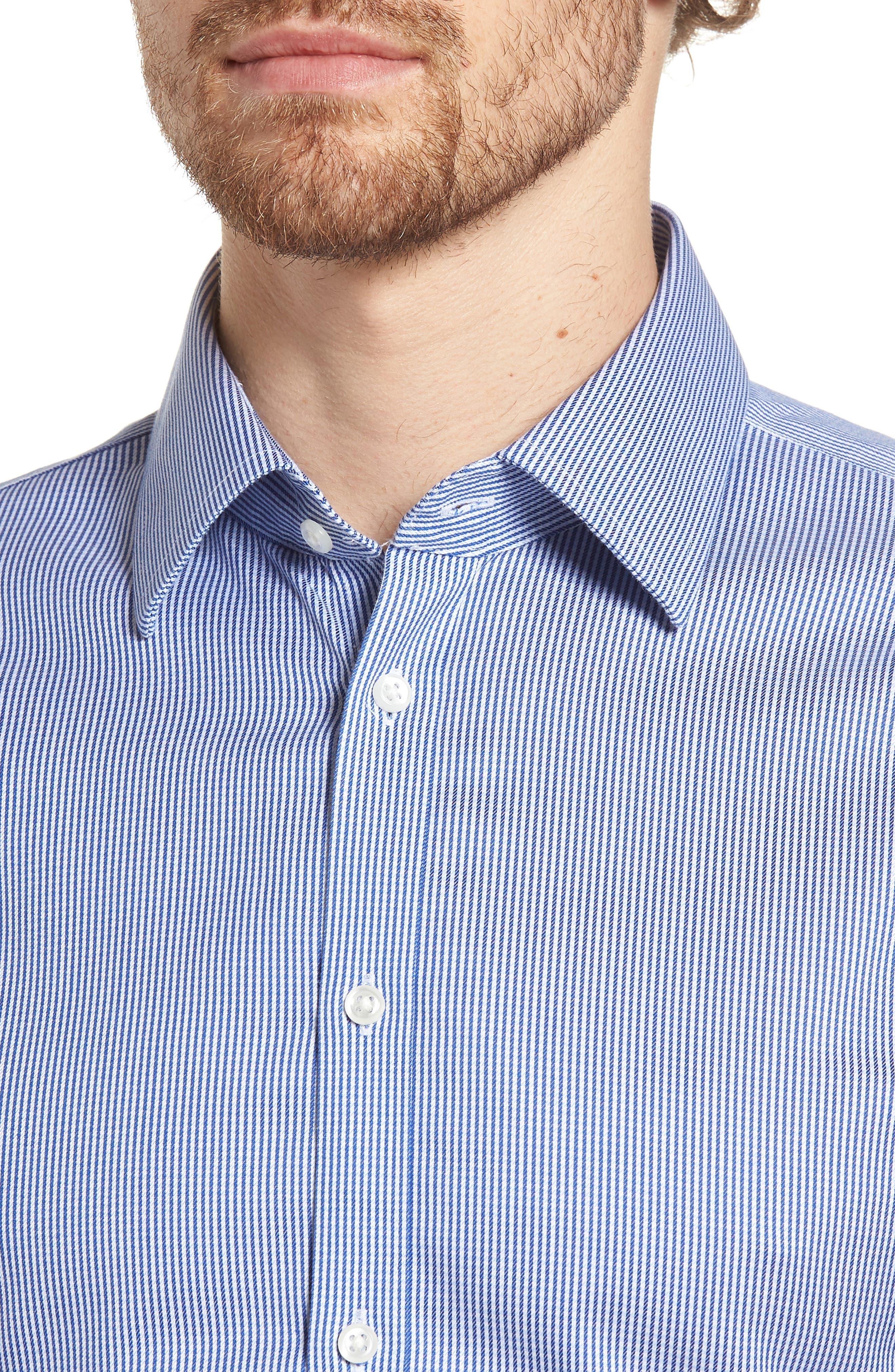 Smartcare<sup>™</sup> Extra Trim Fit Stripe Dress Shirt,                             Alternate thumbnail 2, color,                             Navy Print