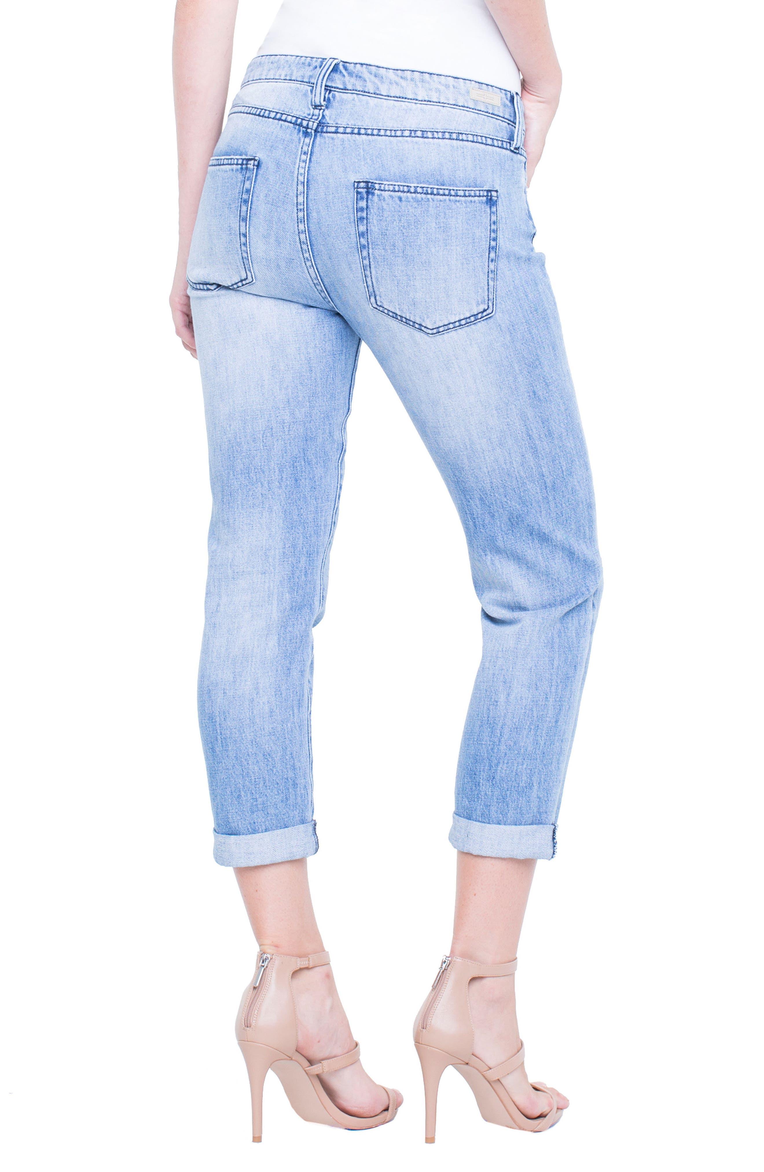 Cameron Embroidered Crop Boyfriend Jeans,                             Alternate thumbnail 3, color,                             Skyline
