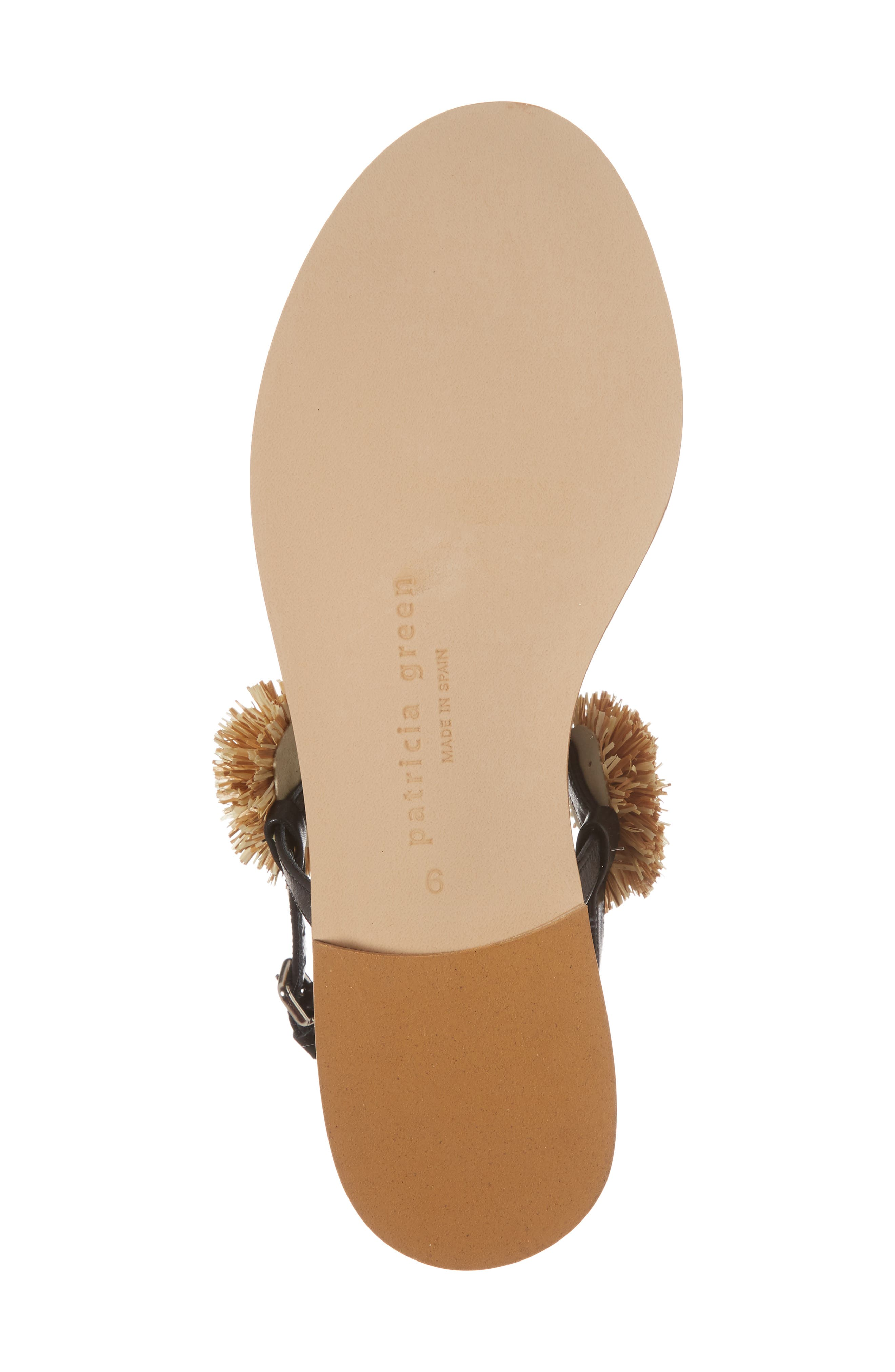 Pompom Thong Sandal,                             Alternate thumbnail 6, color,                             Black Leather