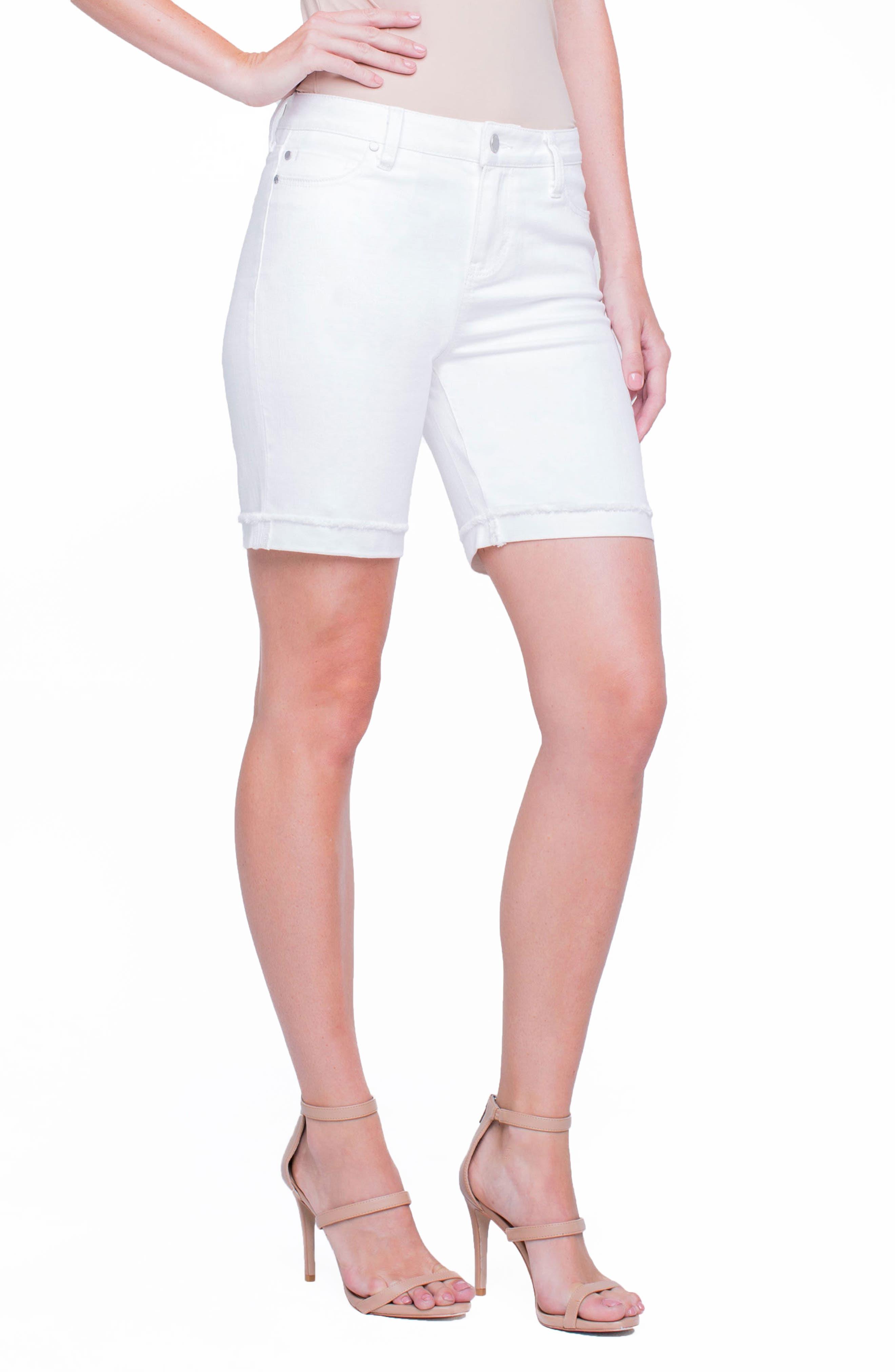 Casey White Denim Shorts,                             Alternate thumbnail 4, color,                             Bright White