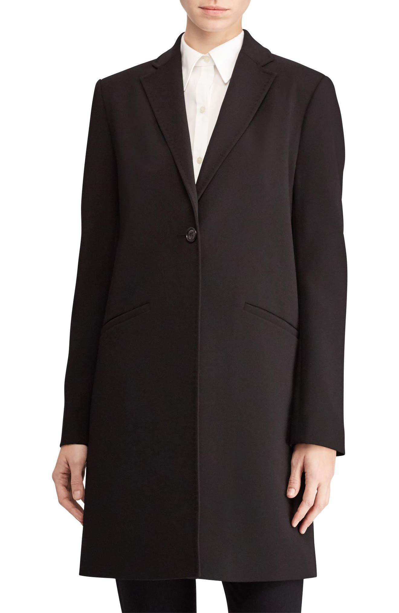 Crepe Reefer Coat,                         Main,                         color, Black