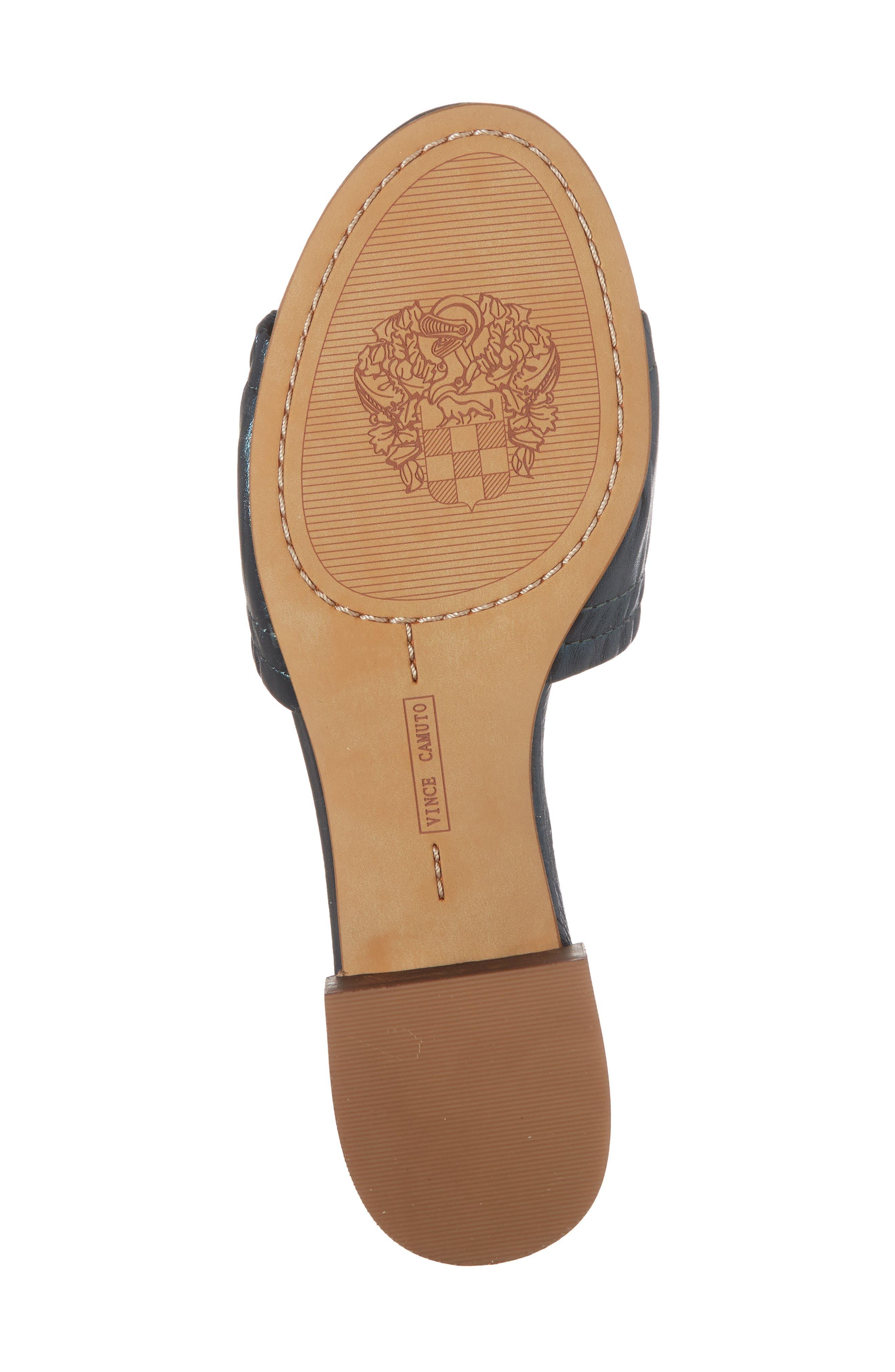 Nanita Pleated Slide Sandal,                             Alternate thumbnail 6, color,                             Metal Teal Fabric