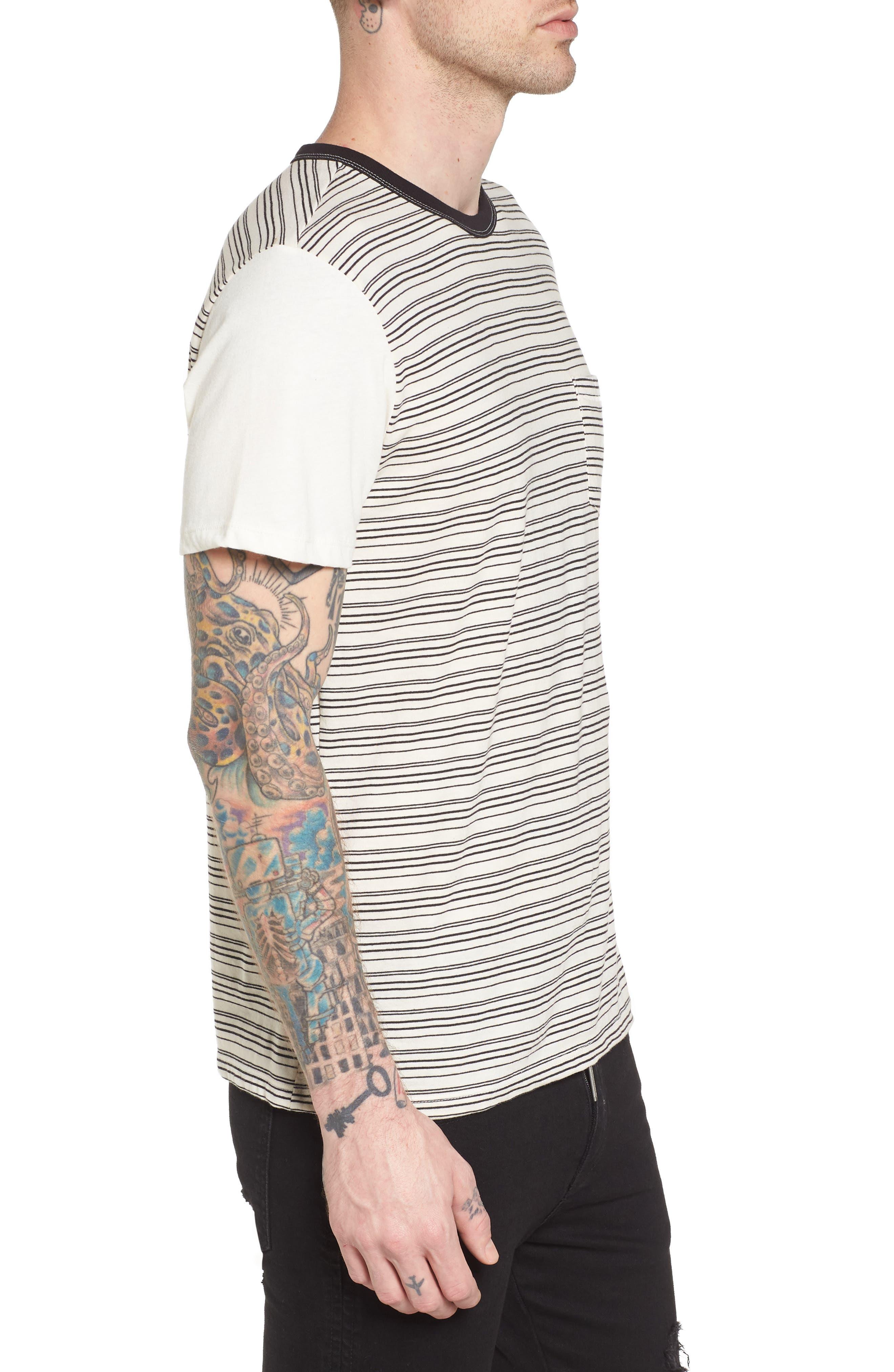 Blocked Ringer T-Shirt,                             Alternate thumbnail 3, color,                             Ivory Black Block Stripe