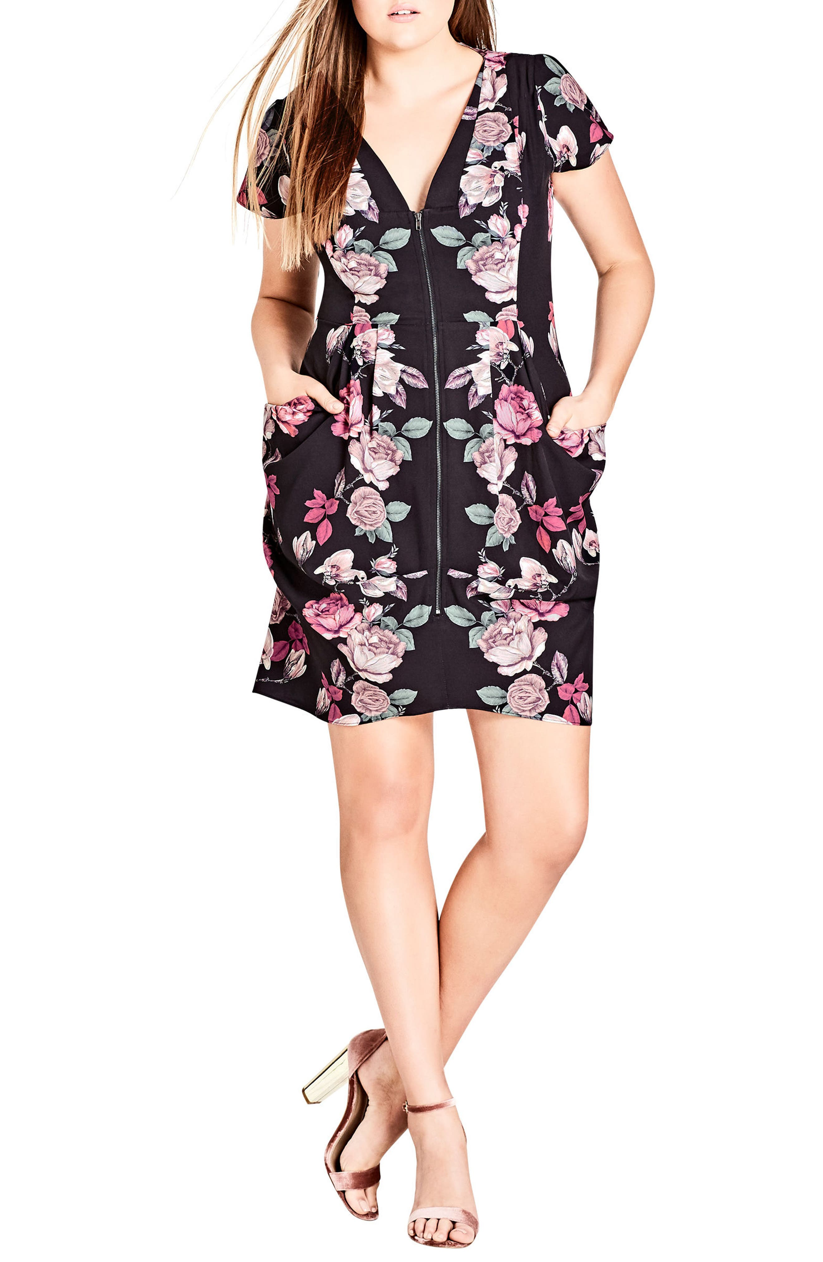 Alternate Image 1 Selected - City Chic Mirror Mirror Floral Tunic Dress (Plus Size)
