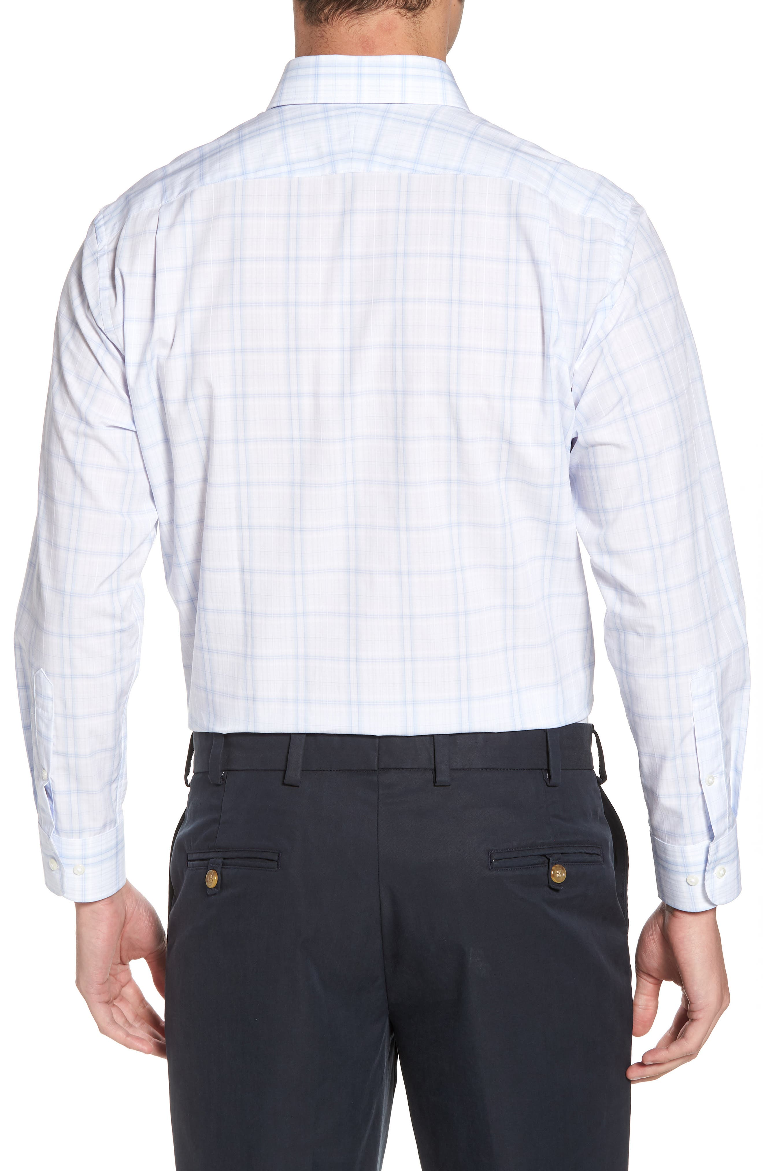 Traditional Fit Check Dress Shirt,                             Alternate thumbnail 3, color,                             Blue Xenon