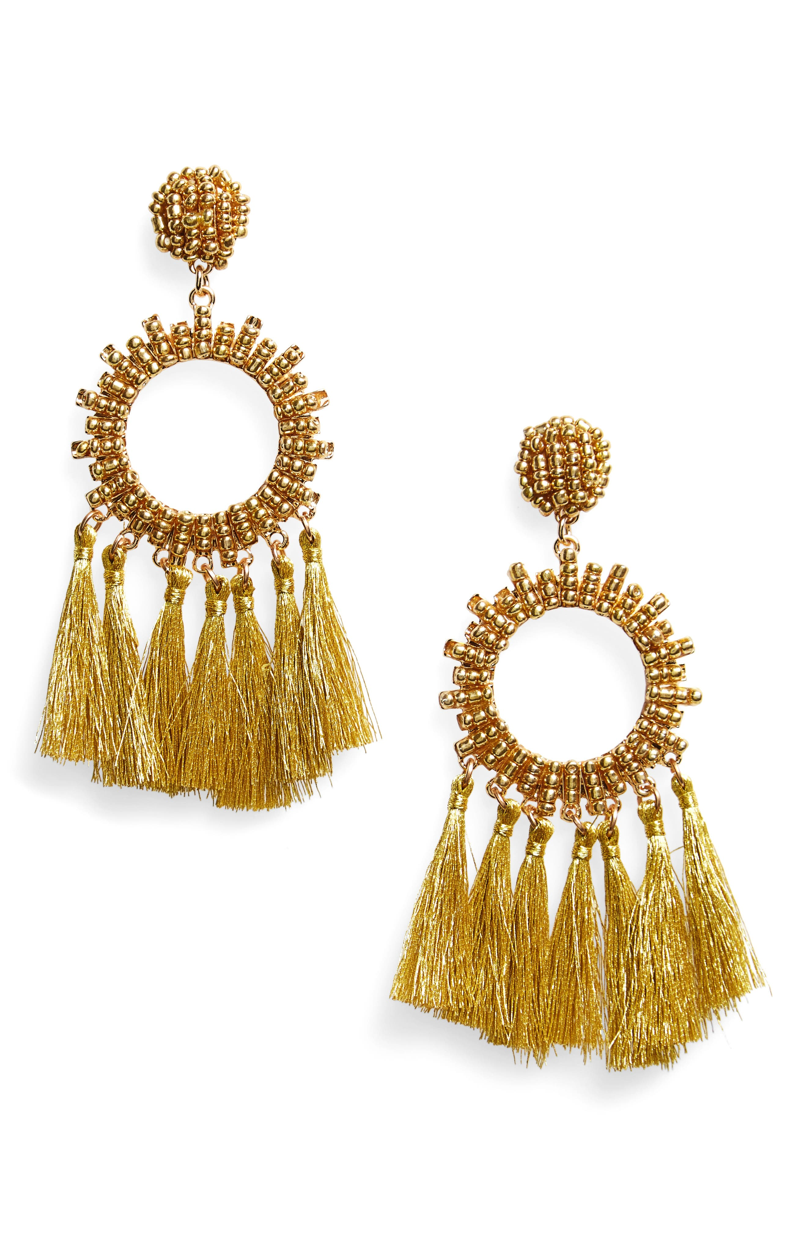 BP. Beaded Tassel Hoop Earrings