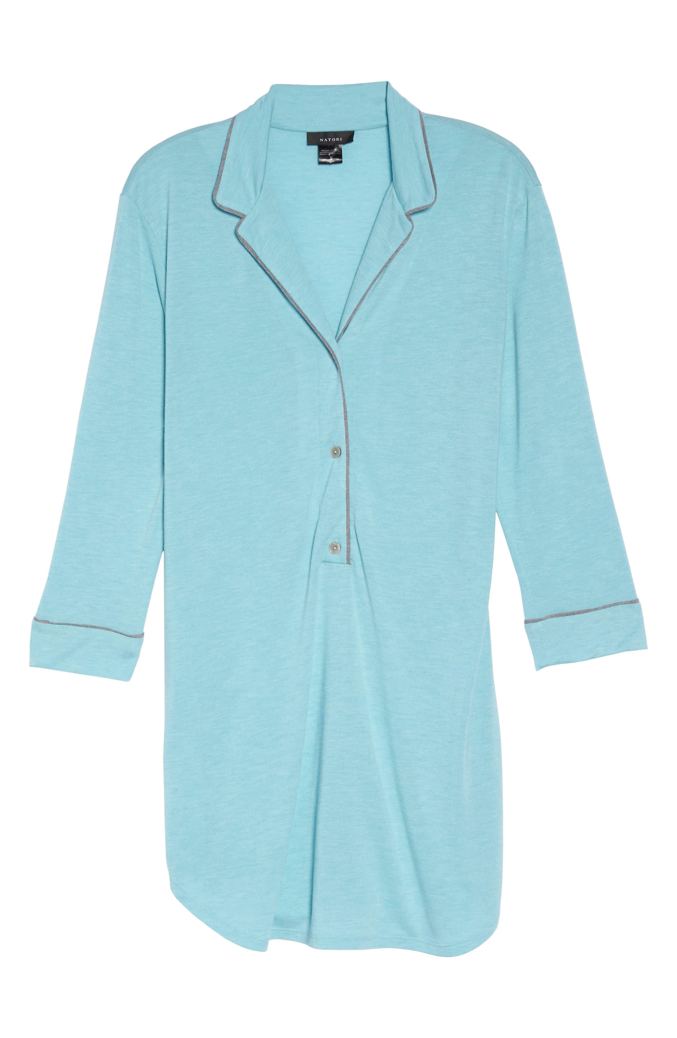 Shangri-La Sleep Shirt,                             Alternate thumbnail 4, color,                             Turquoise