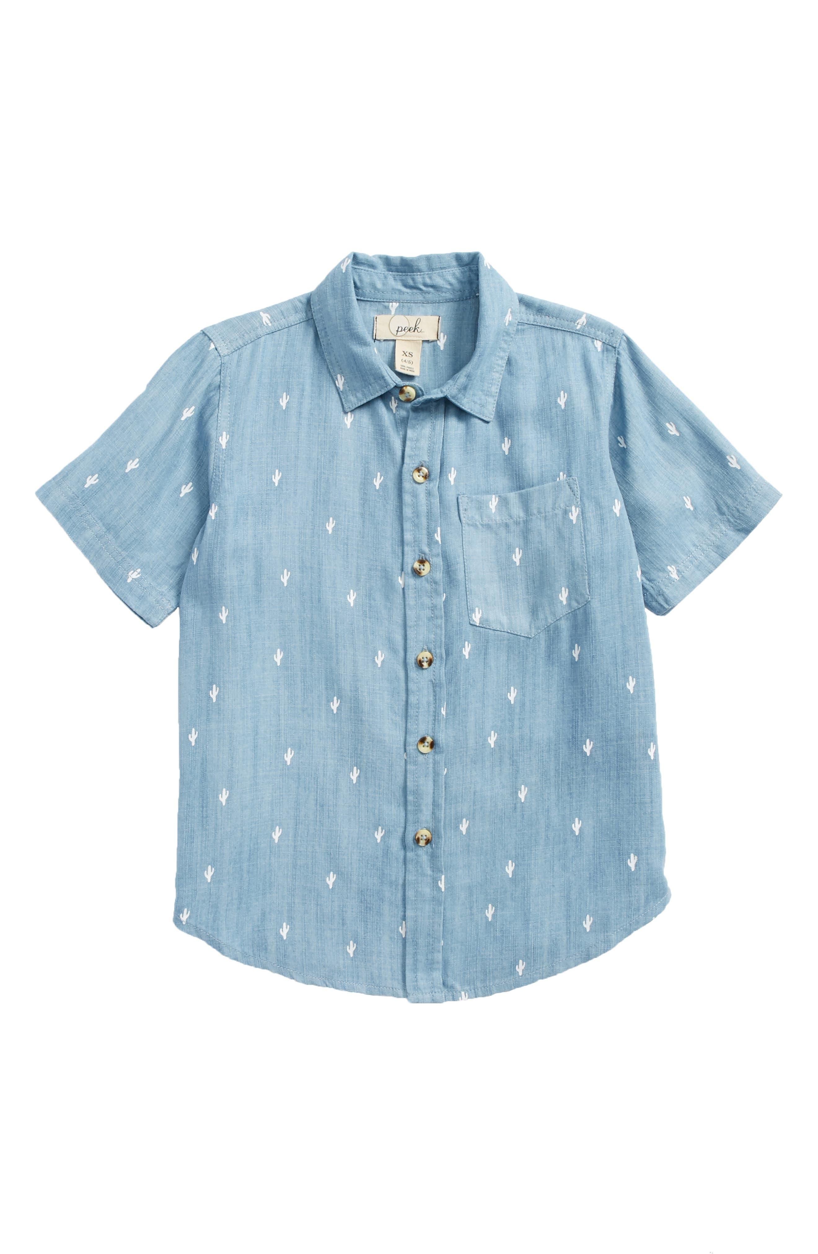 Cactus Woven Shirt,                         Main,                         color, Indigo