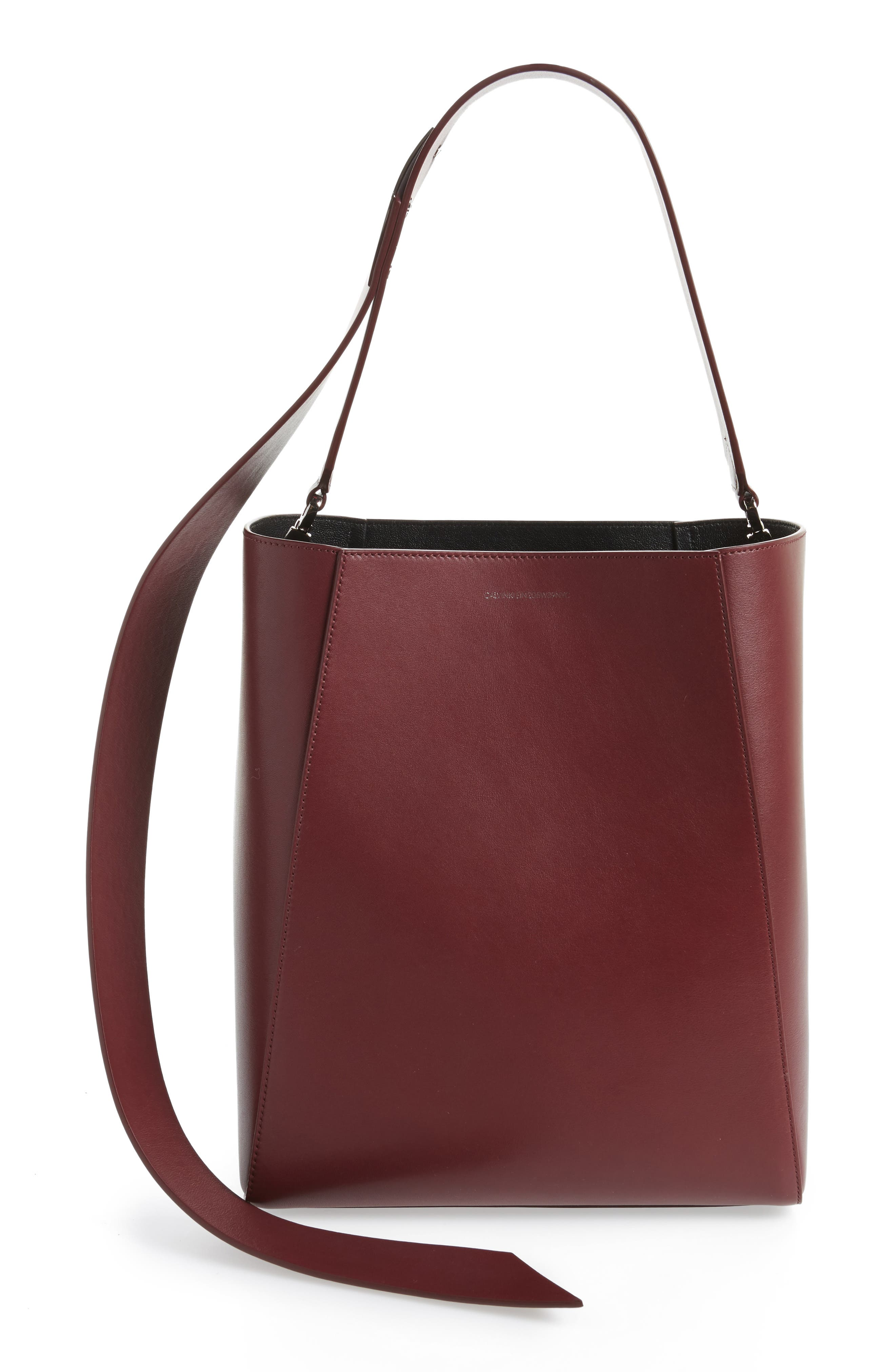 Calvin Klein 205W39NYC Medium Calfskin Leather Bucket Bag with Removable Pouch