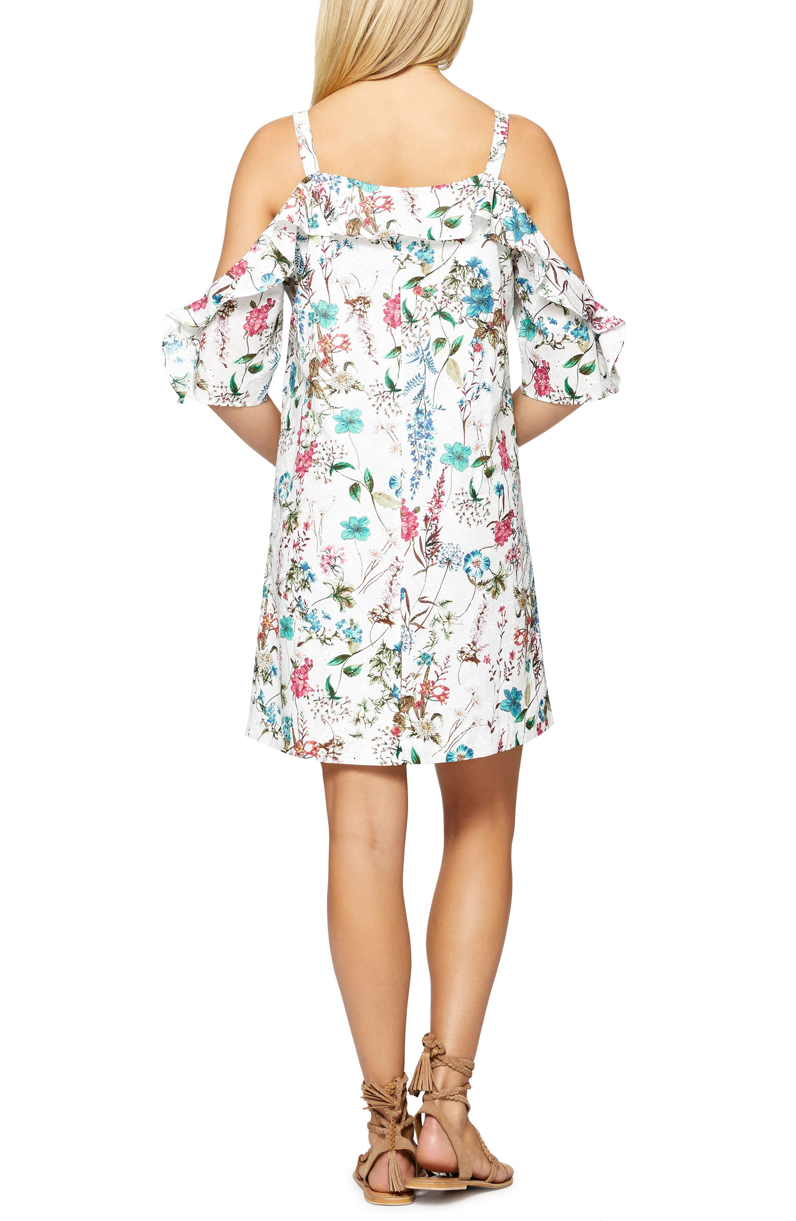 Primrose Ruffle Cold Shoulder Dress,                             Alternate thumbnail 2, color,                             Cheerful Nature