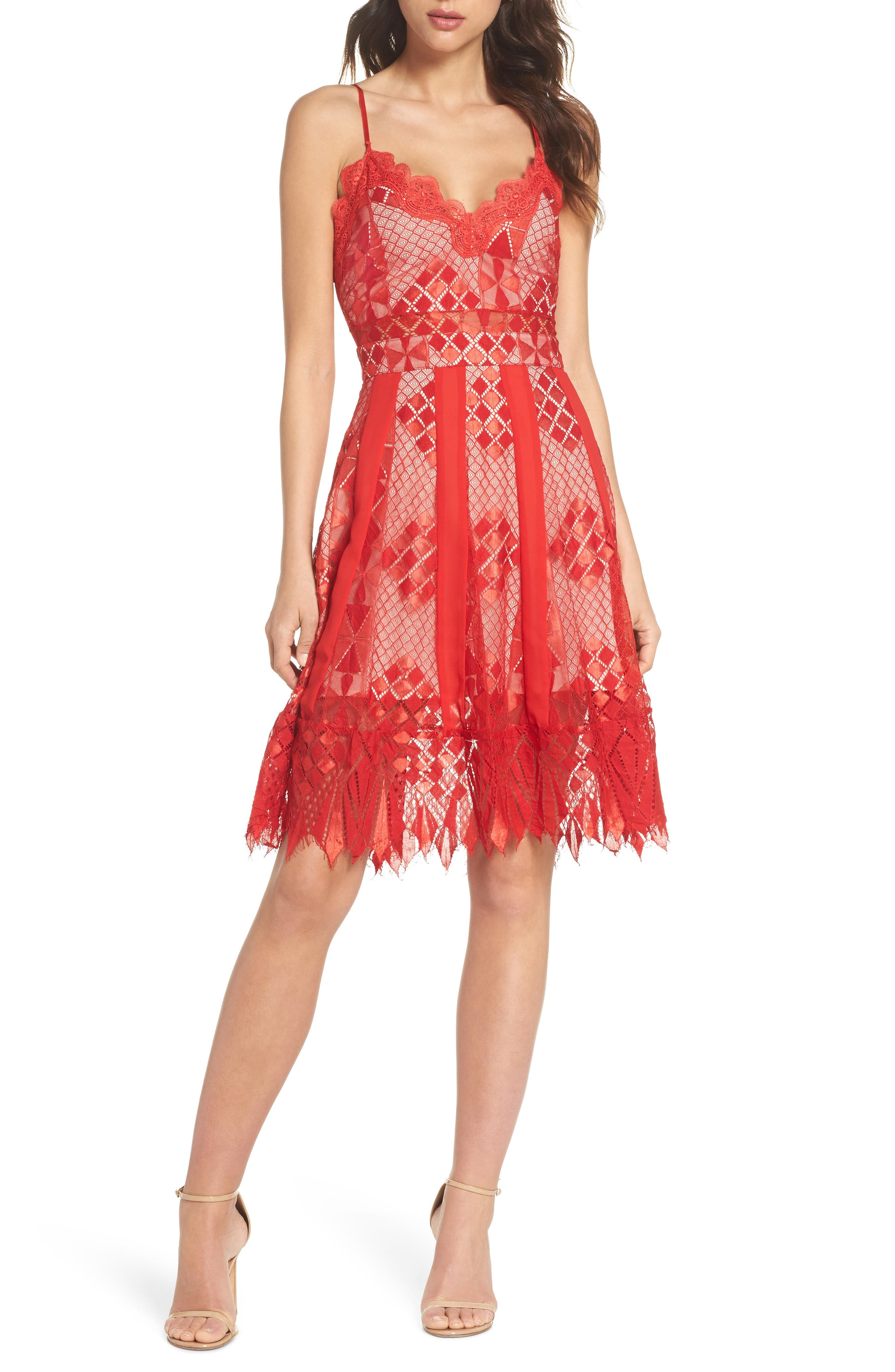 Calla Geometric Lace Dress,                             Main thumbnail 1, color,                             Red