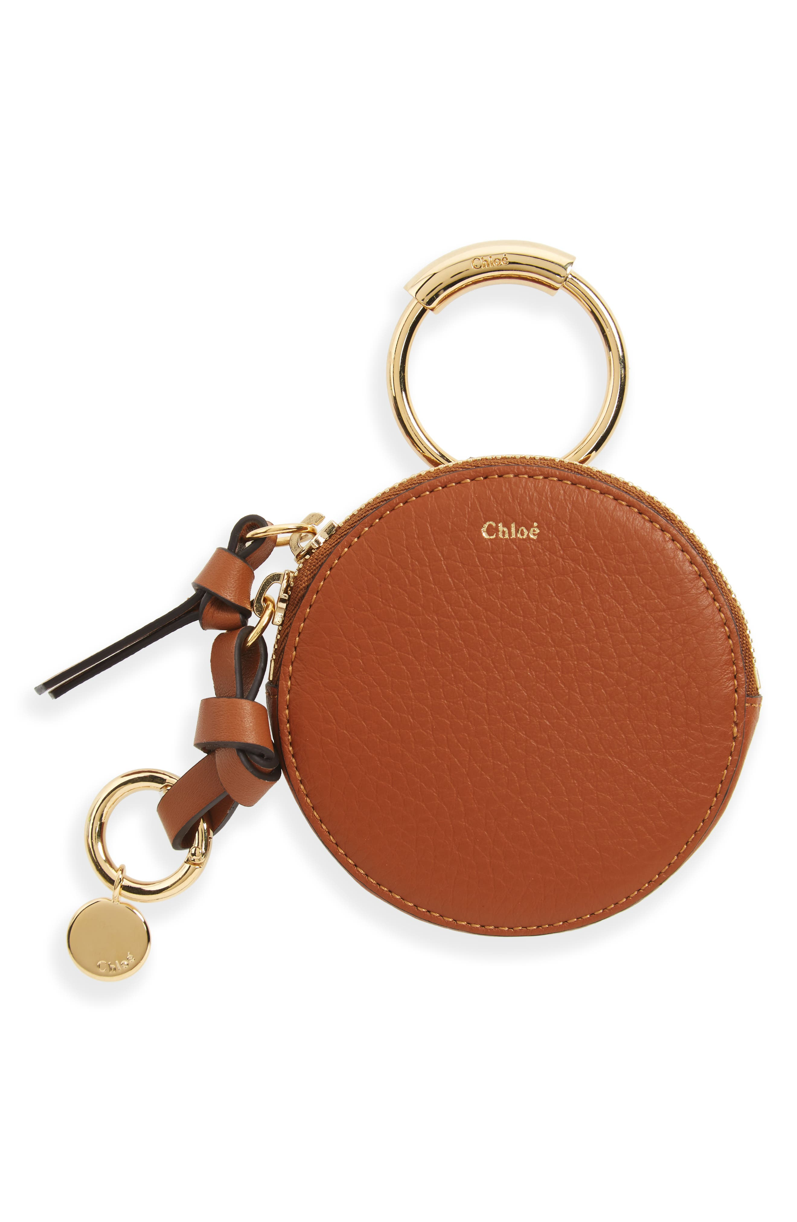 Key Ring & Leather Pouch,                         Main,                         color, Tan