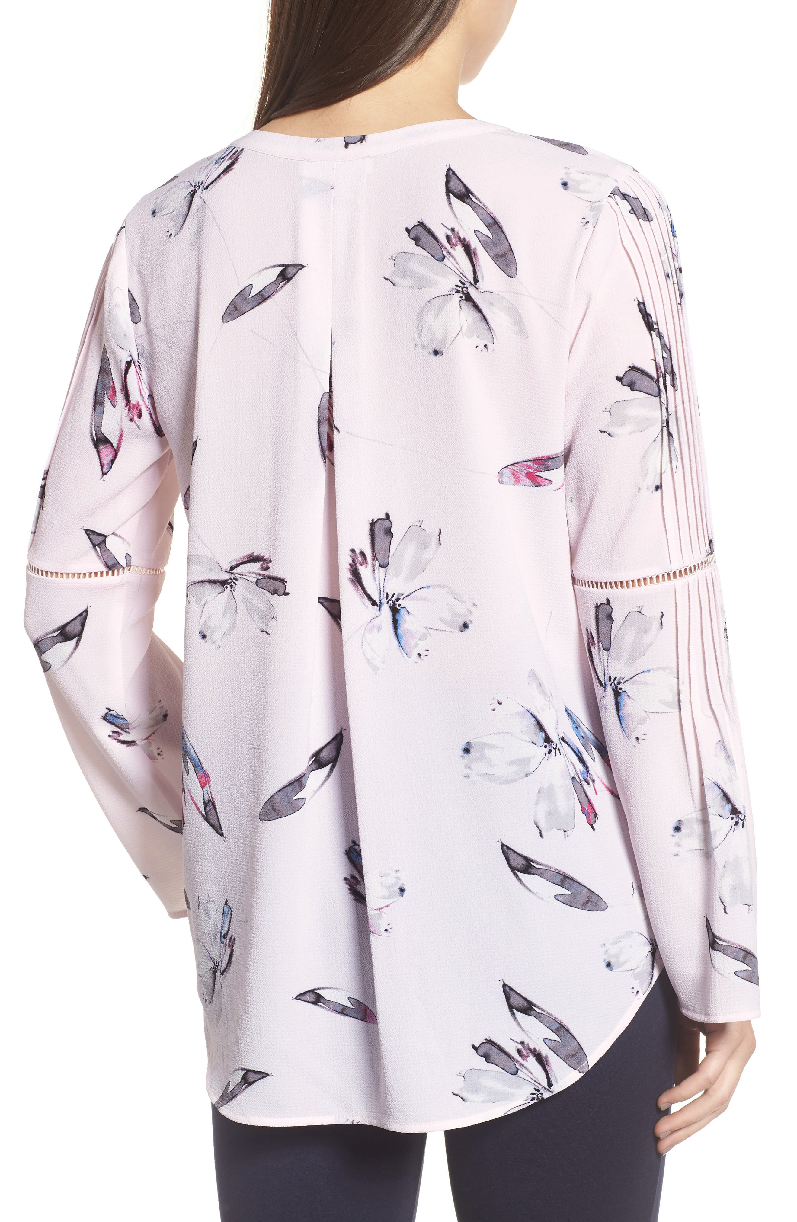 Pleated Bell Sleeve Floral Crepe Top,                             Alternate thumbnail 2, color,                             112-Light Pink