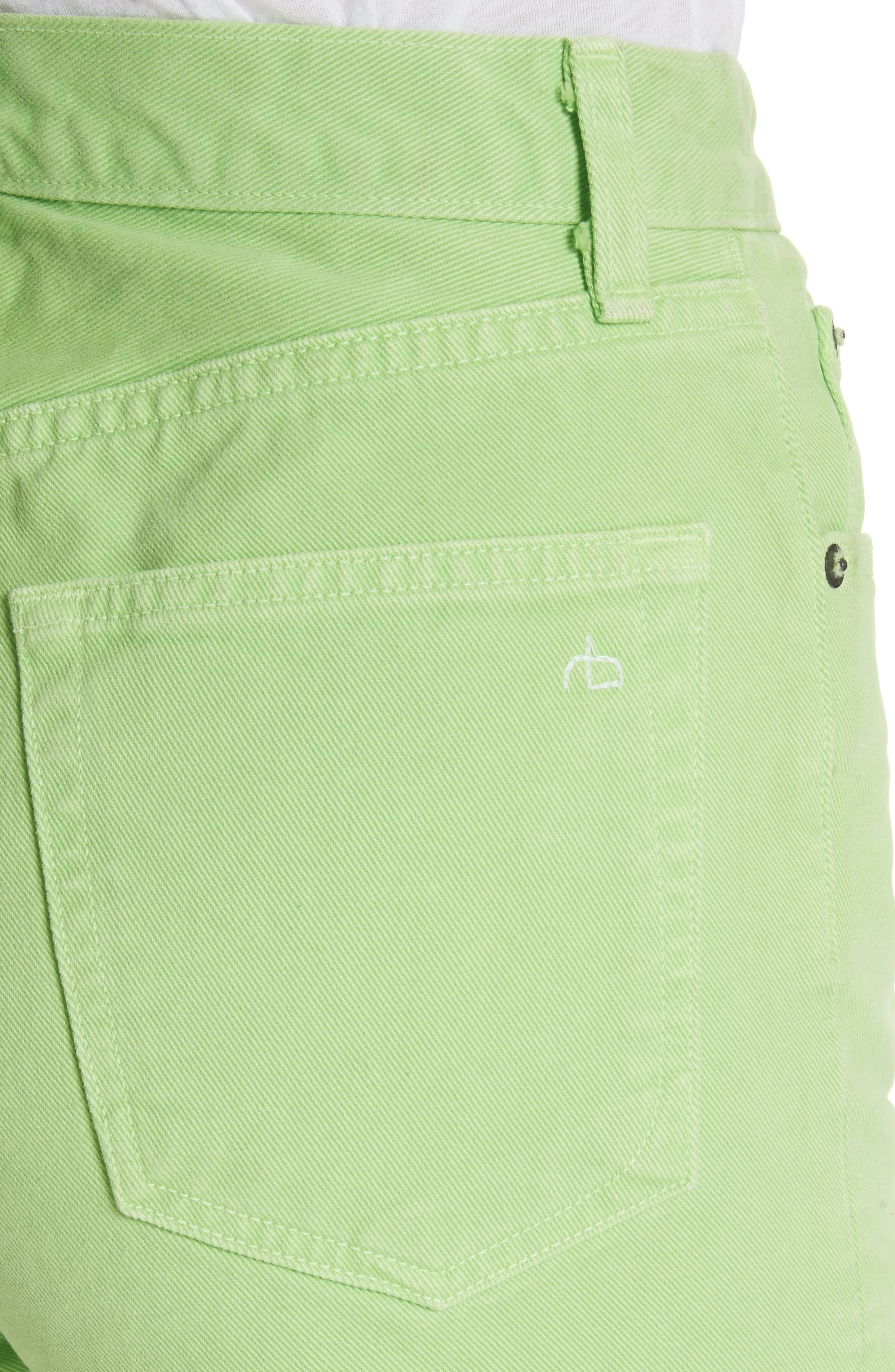 Justine High Waist Denim Shorts,                             Alternate thumbnail 5, color,                             Lime