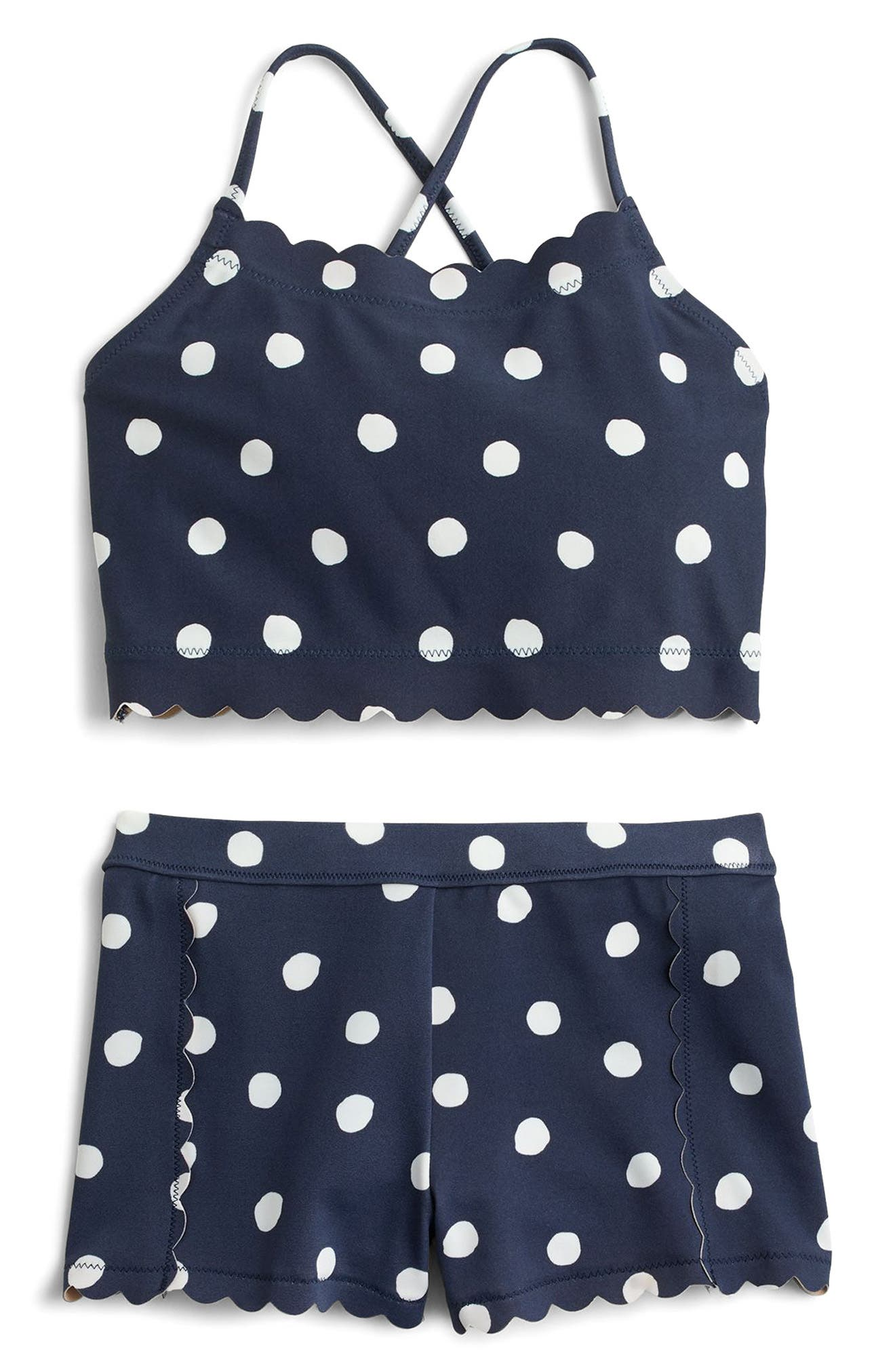 Polka Dot Two-Piece Swimsuit,                             Main thumbnail 1, color,                             Dusty Navy White