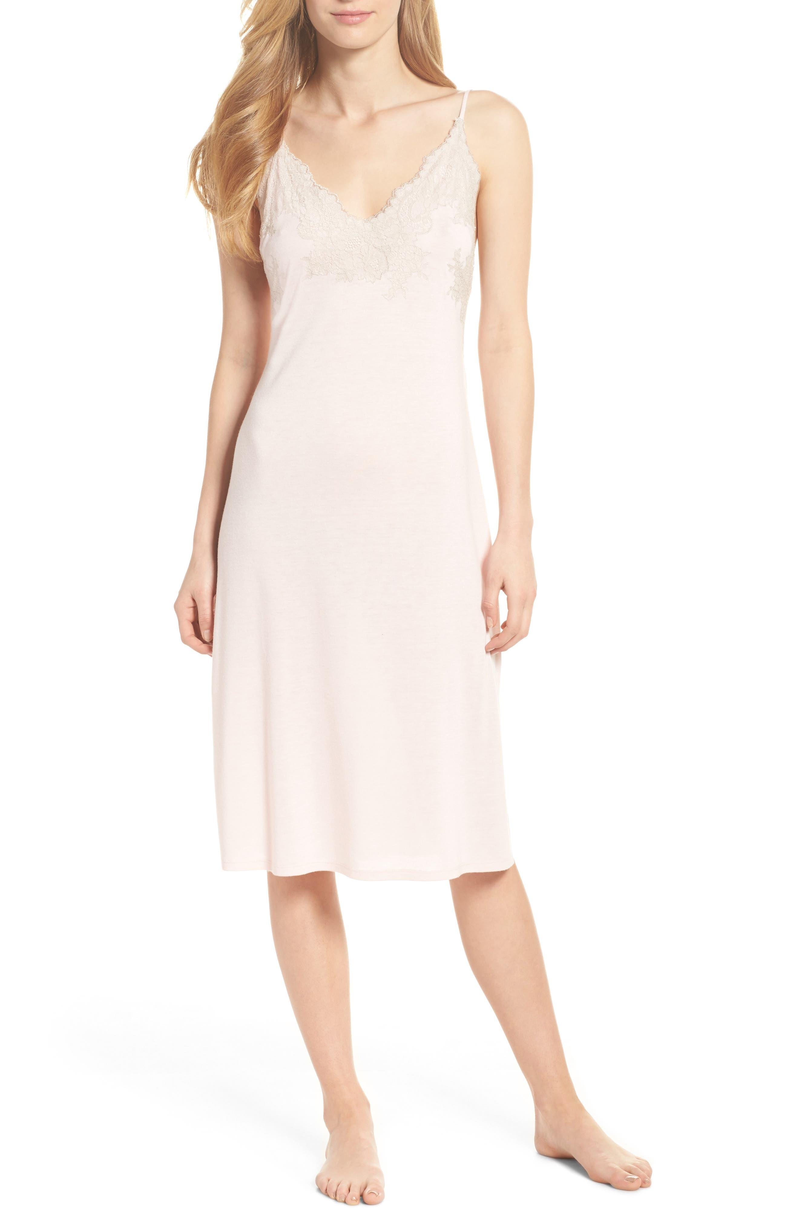 Luxe Shangri-La Nightgown,                             Main thumbnail 1, color,                             Blush Pink