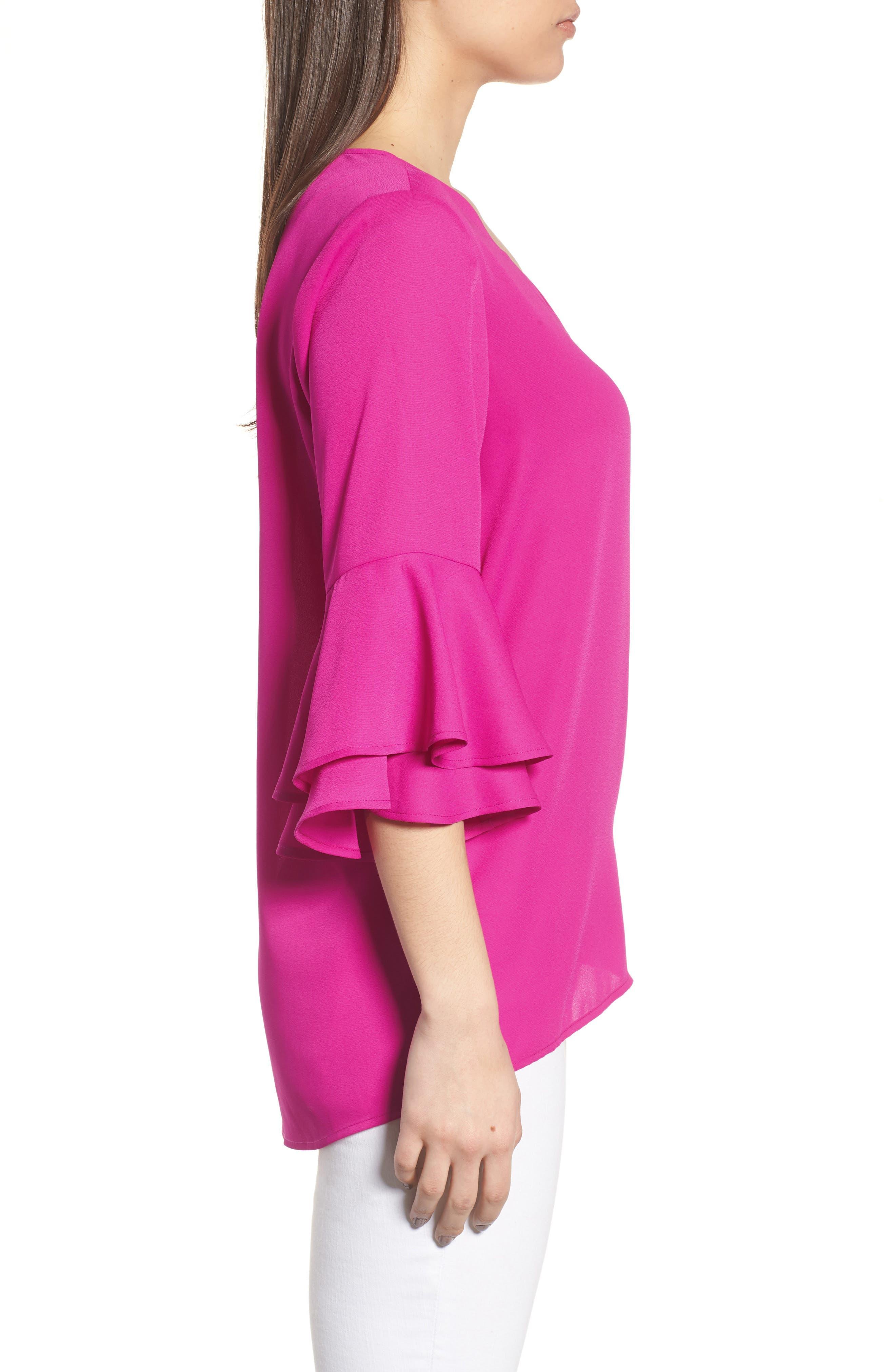 Ruffle Sleeve V-Neck Blouse,                             Alternate thumbnail 3, color,                             686-Pink Nouveau