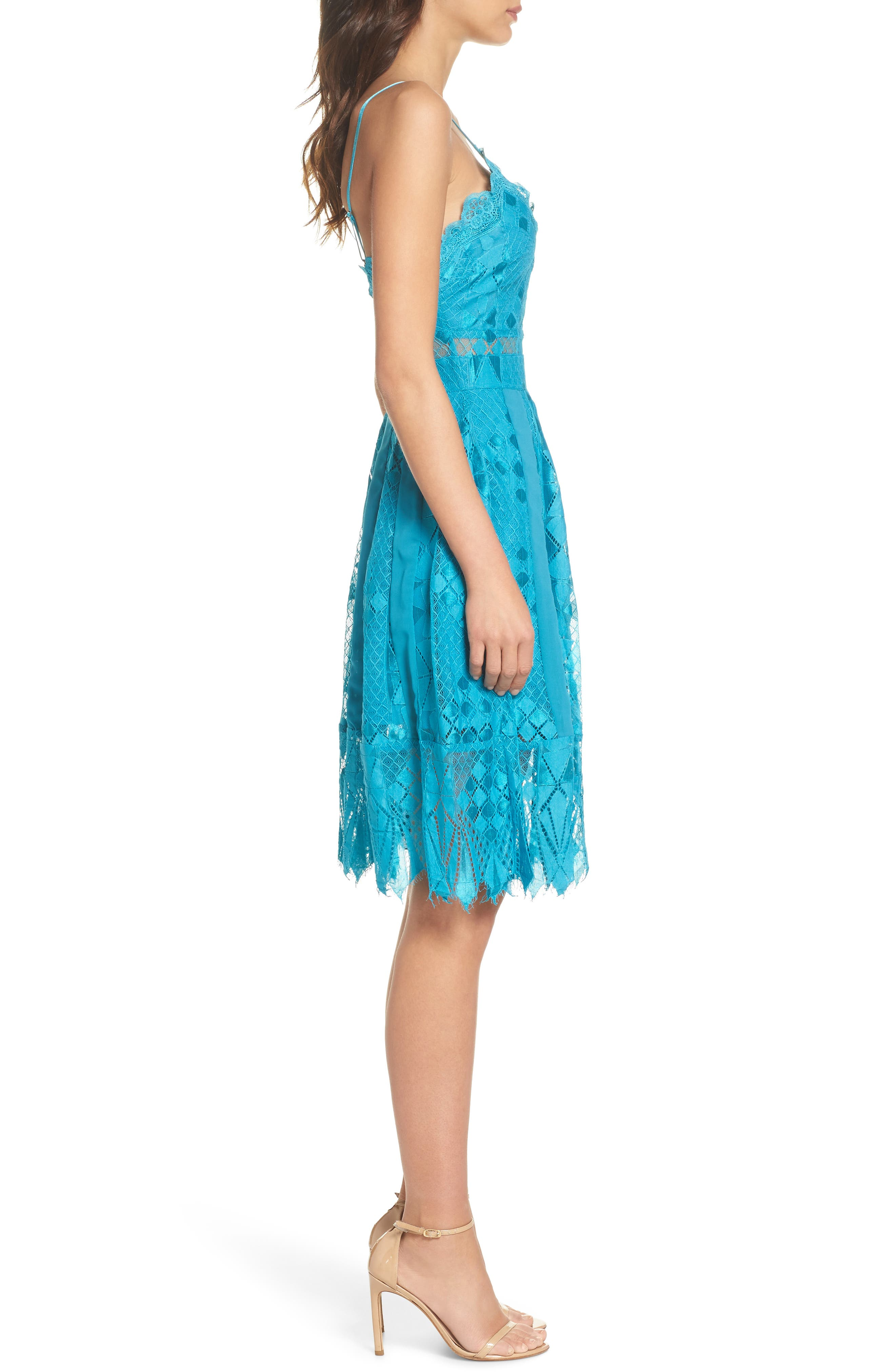 Calla Geometric Lace Dress,                             Alternate thumbnail 3, color,                             Light Blue