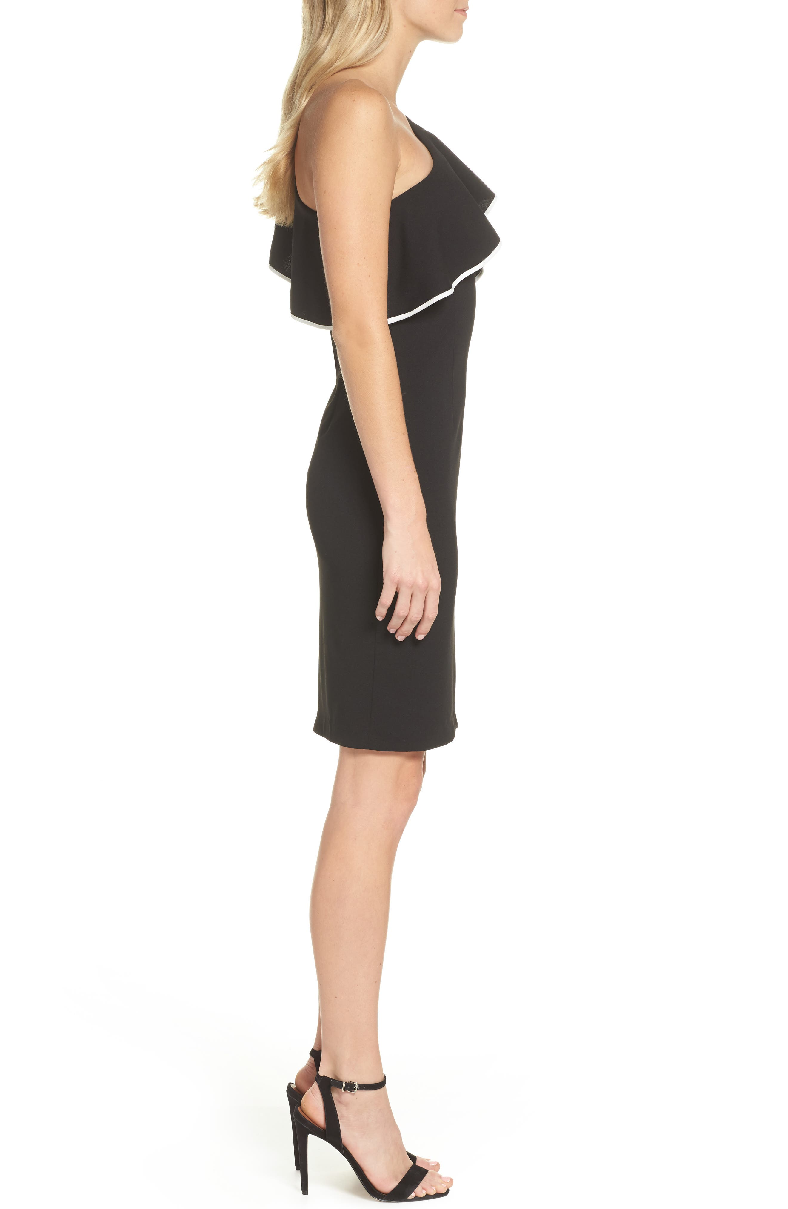 Crepe One-Shoulder Sheath Dress,                             Alternate thumbnail 3, color,                             Black/ Ivory