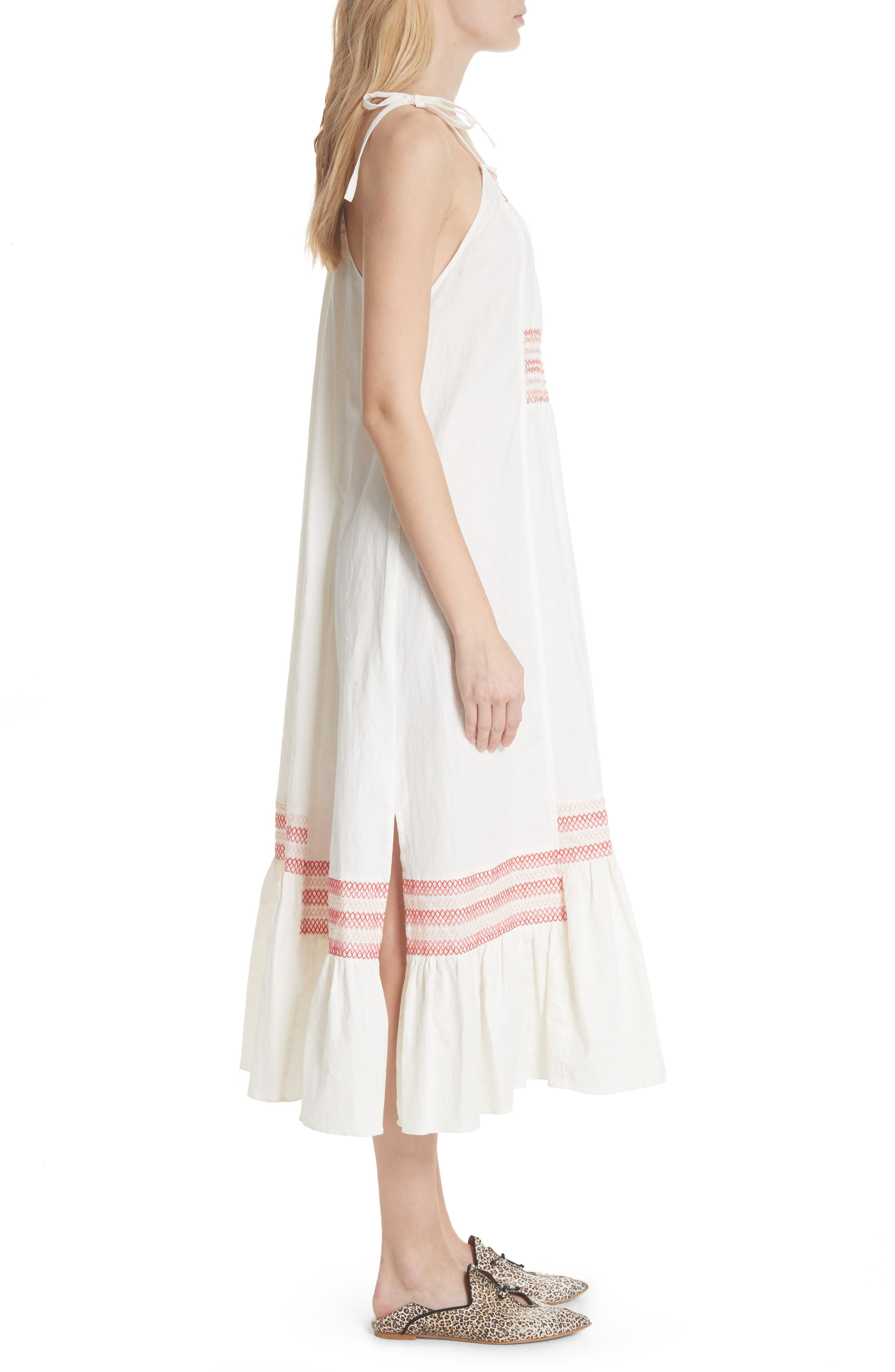 Another Love Smocked Midi Dress,                             Alternate thumbnail 3, color,                             Ivory