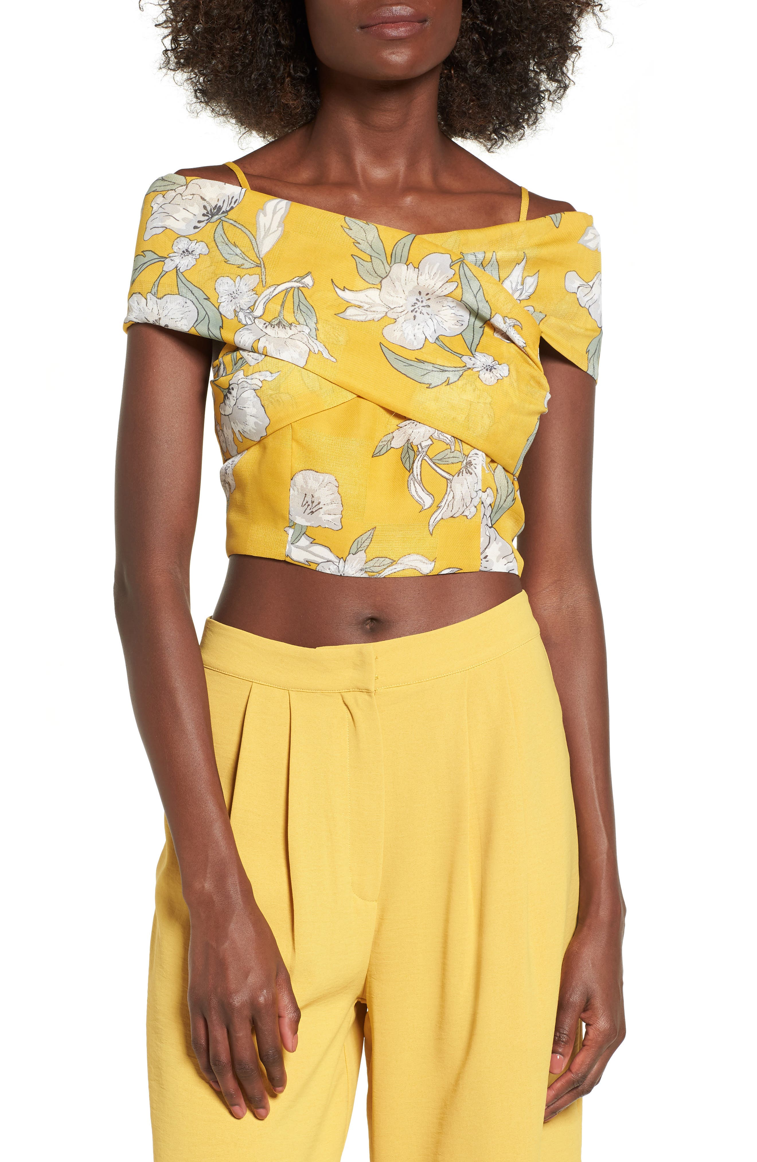 Chriselle x J.O.A. Tie Front Crop Top,                             Alternate thumbnail 5, color,                             Quince Blossom