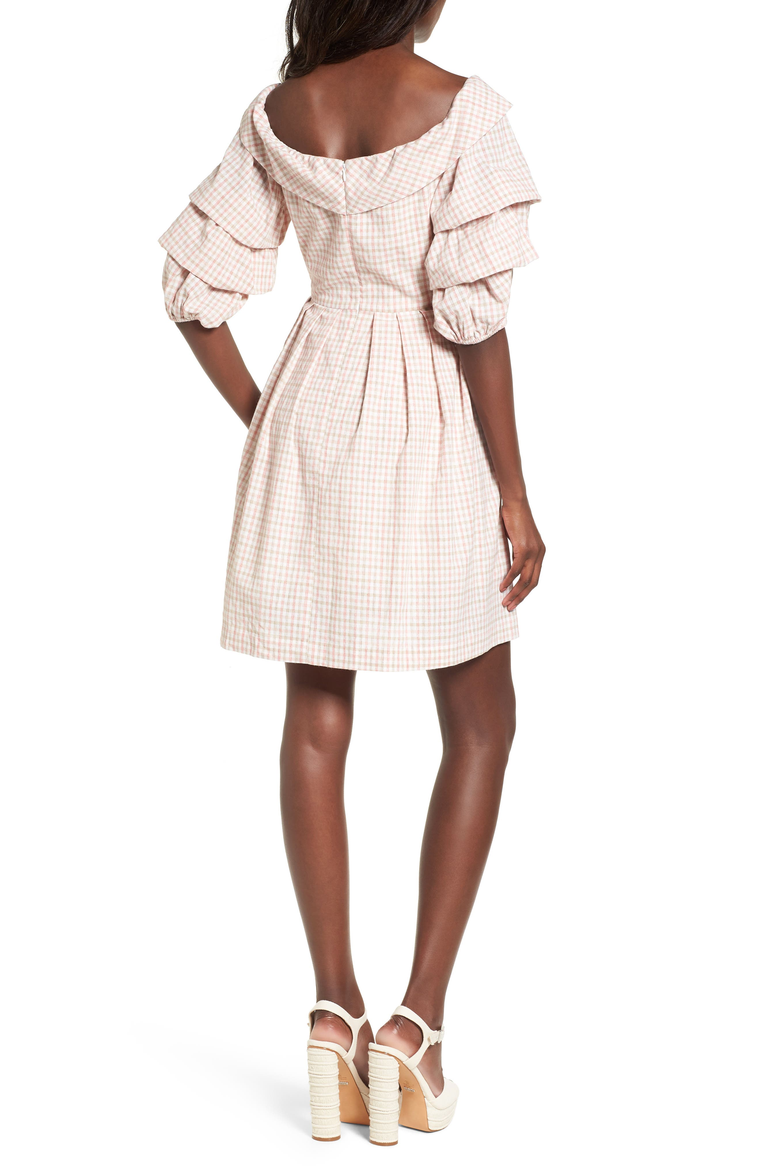 Chriselle x J.O.A. Tiered Sleeve Minidress,                             Alternate thumbnail 4, color,                             Patina Gingham