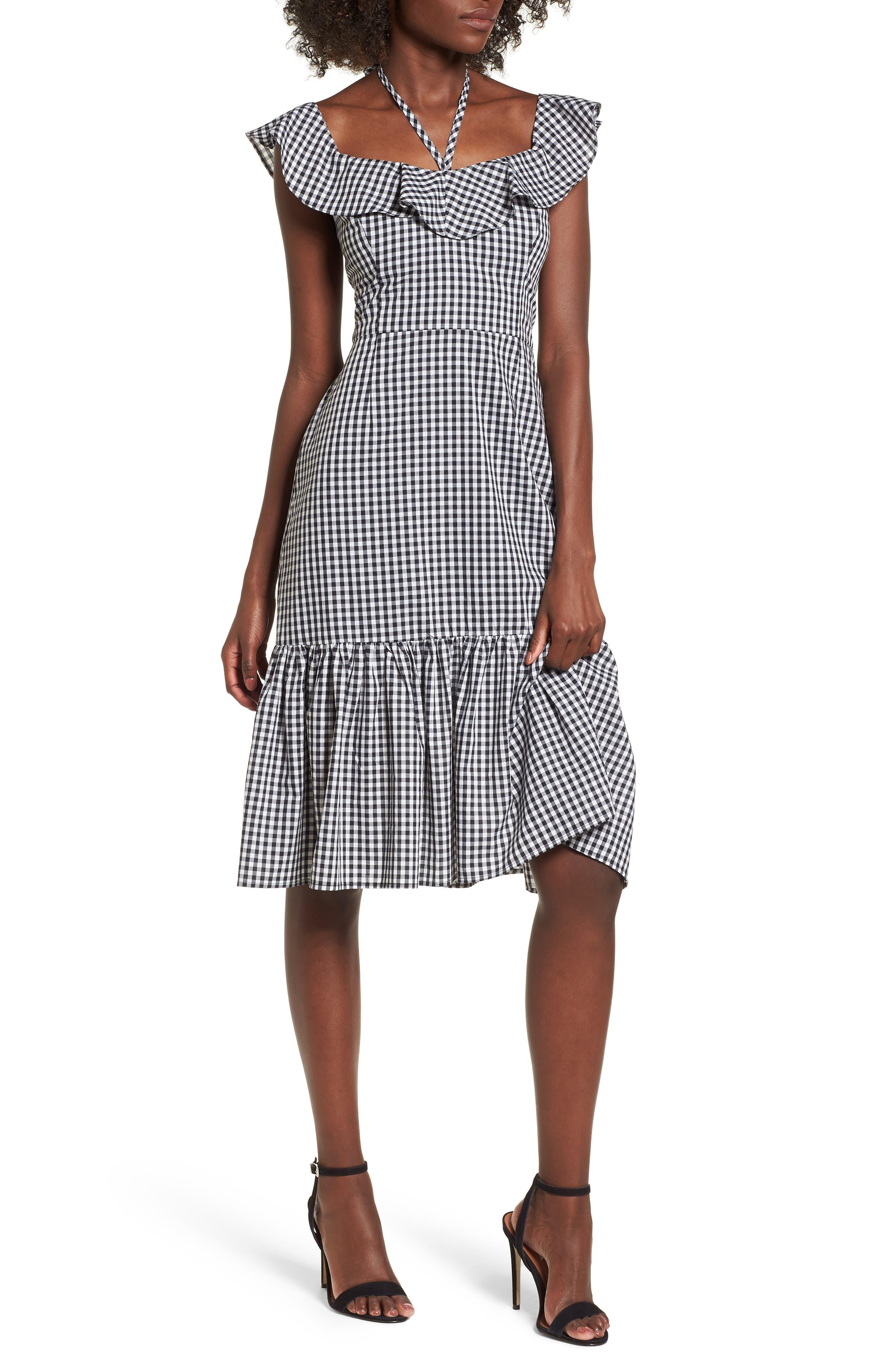 Zander Ruffle Midi Dress,                         Main,                         color, Black Gingham