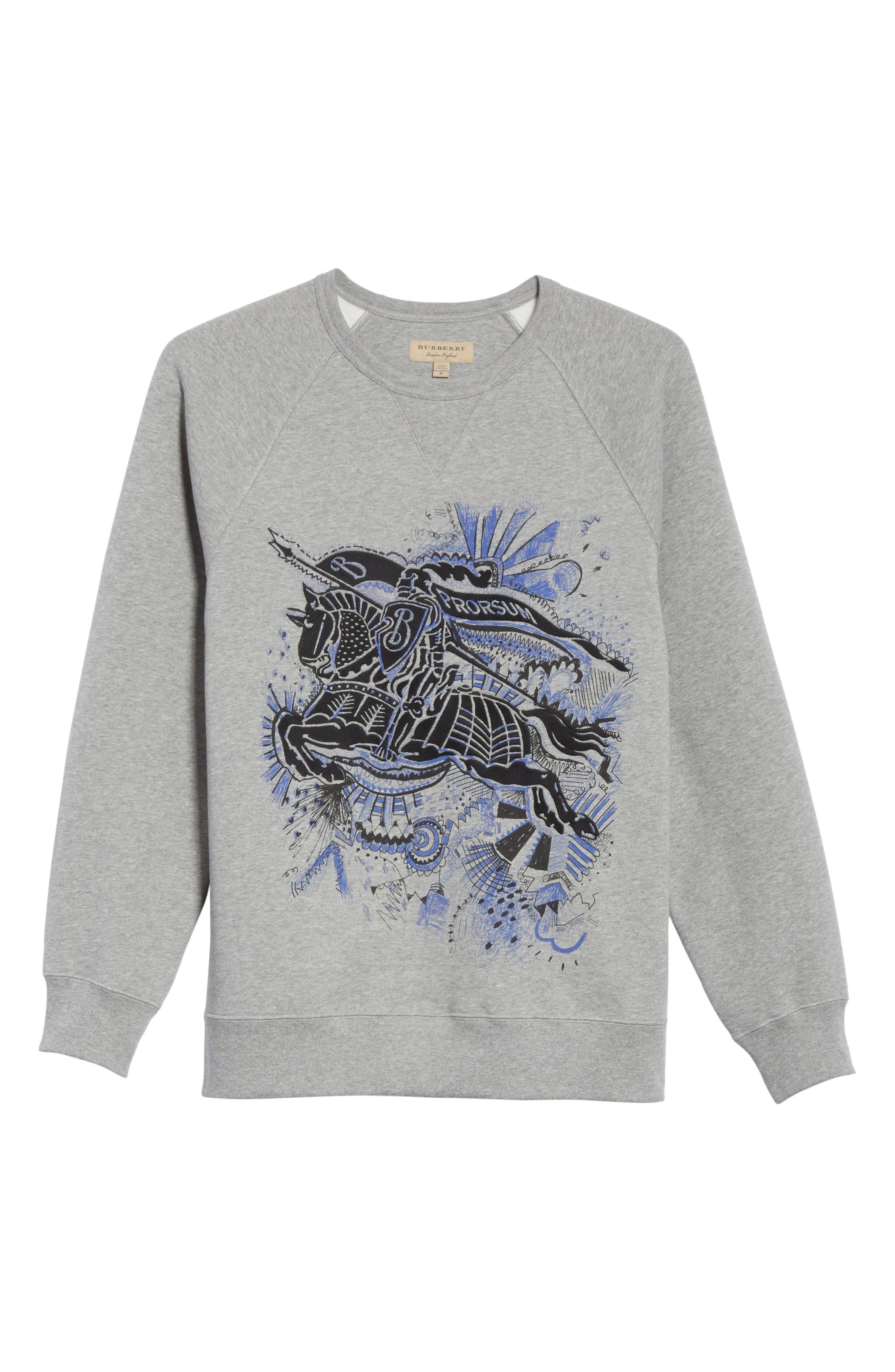 Kaneford Standard Fit Sweatshirt,                             Alternate thumbnail 6, color,                             Pale Grey Melange