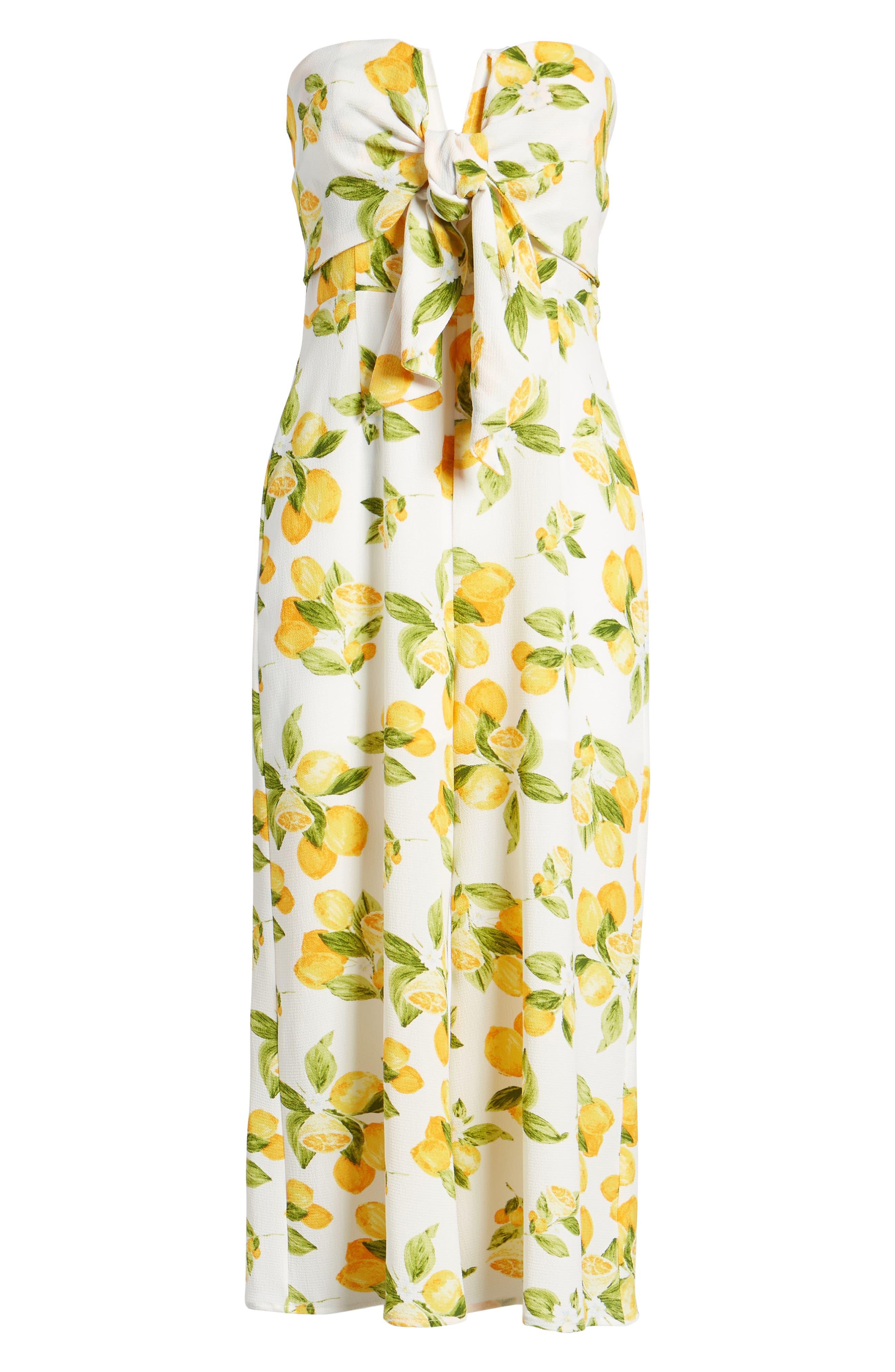 Strapless Tie Front Jumpsuit,                             Alternate thumbnail 6, color,                             Lemon Print