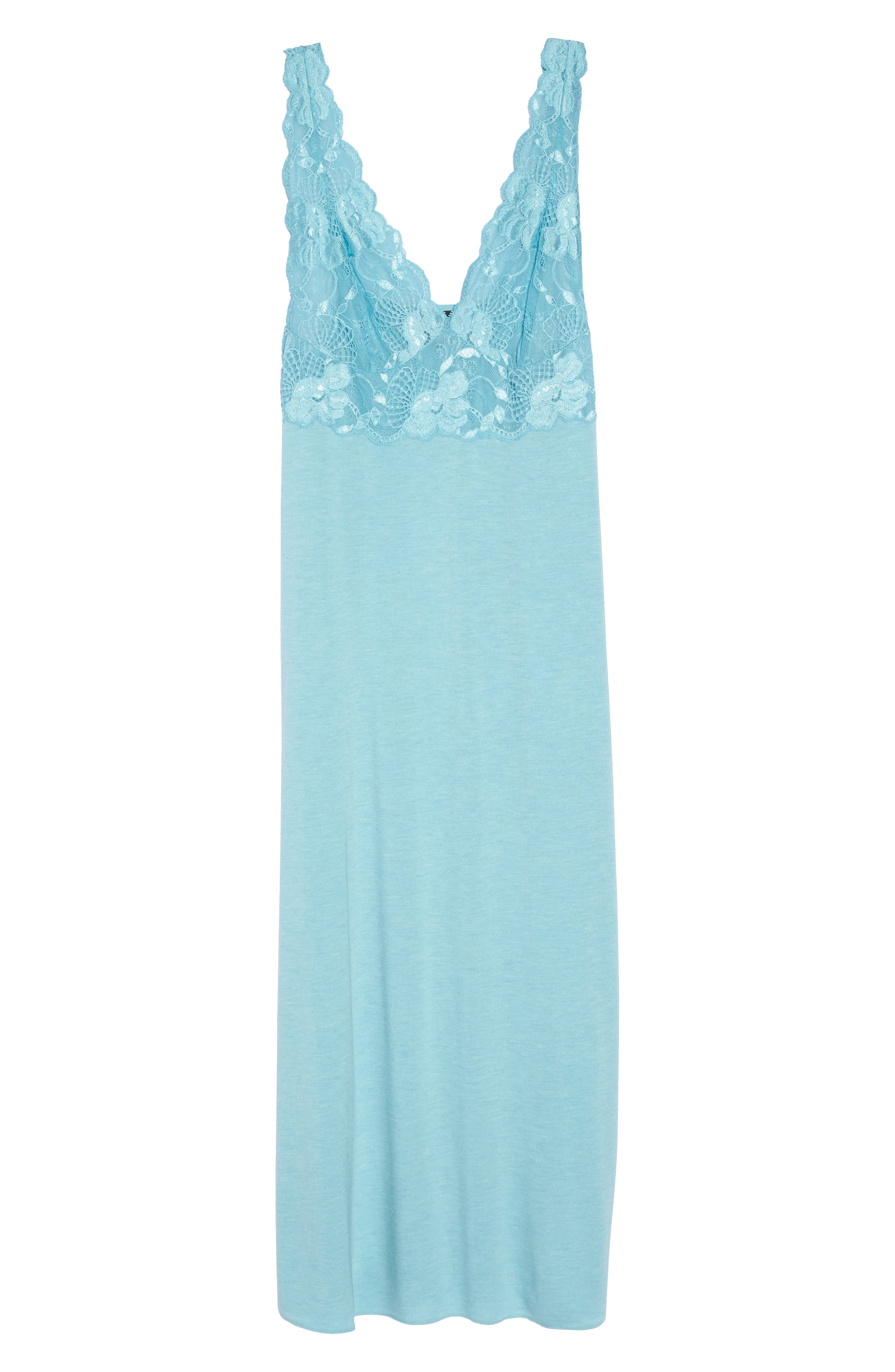 'Zen Floral' Nightgown,                             Main thumbnail 1, color,                             Turquoise